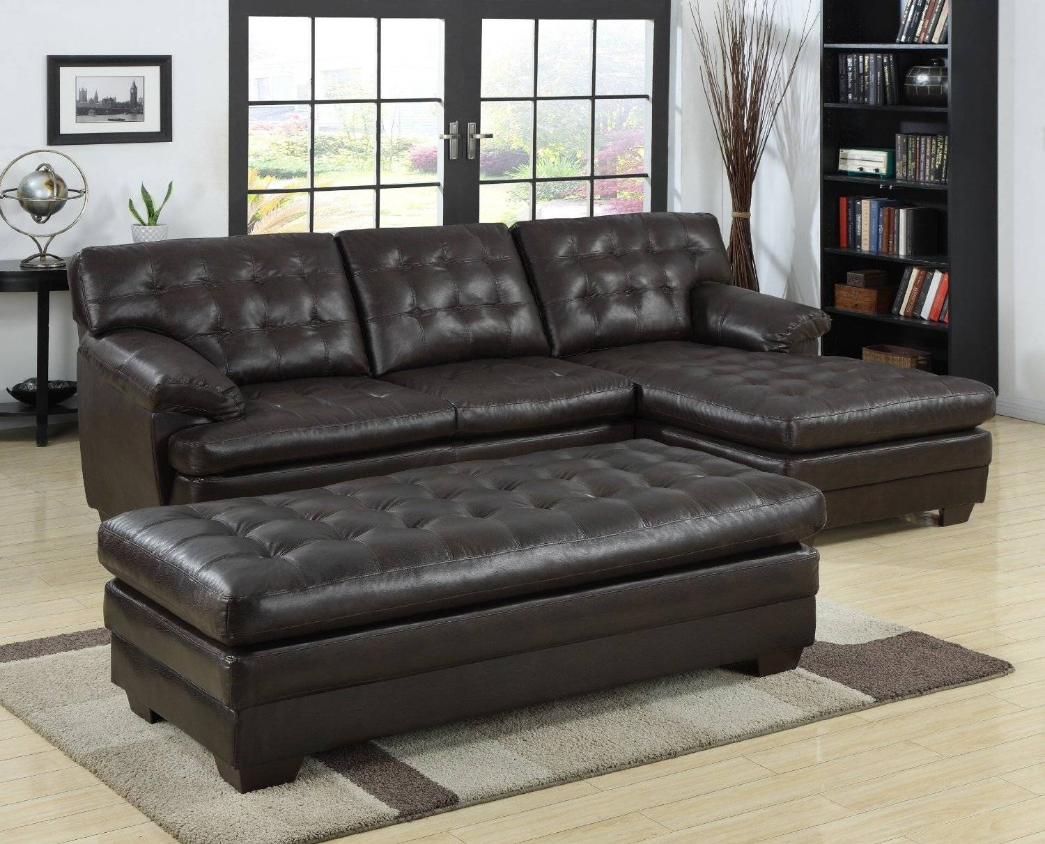 Black Tufted Leather Sectional Sofa With Chaise And Bench Seat Within Black Leather Chaise Sofas (View 4 of 15)
