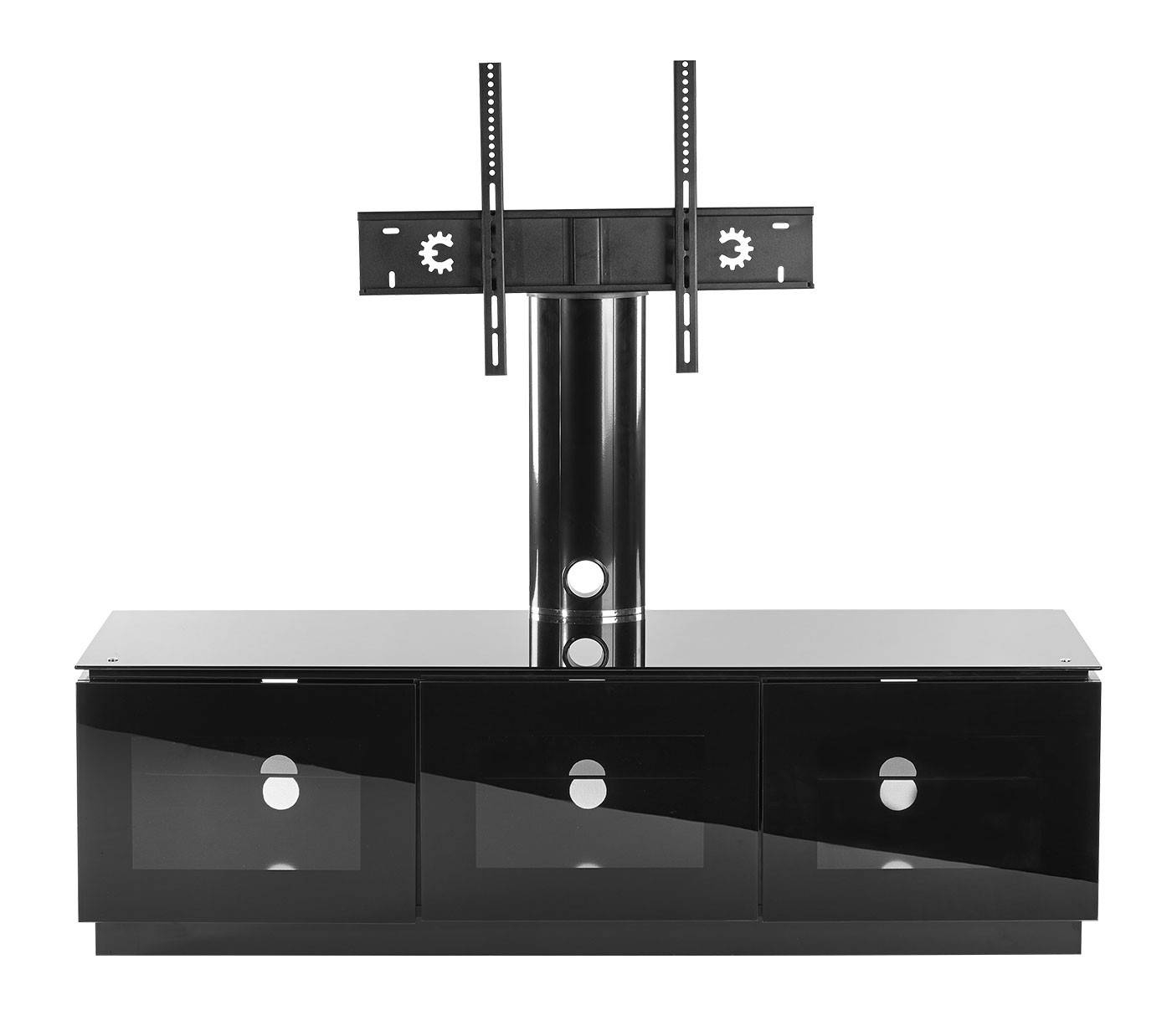 Black Tv Cabinet With Mount For Up To 65 Inch Tv | Mmt-D1500-Xarm within Black Tv Cabinets With Doors (Image 7 of 15)