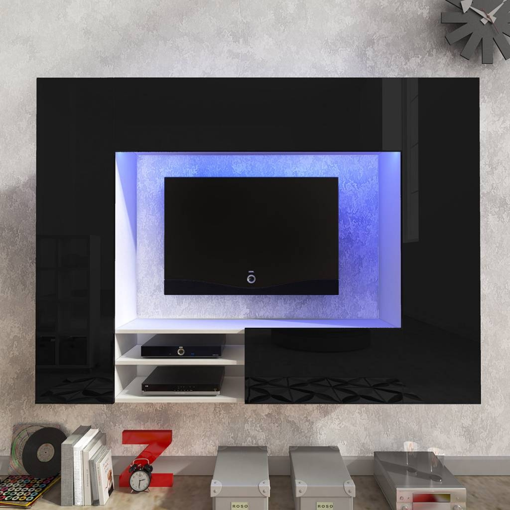 Black White Black High Gloss Entertainment Center Led Tv Wall Unit pertaining to Black Gloss Tv Wall Unit (Image 1 of 15)