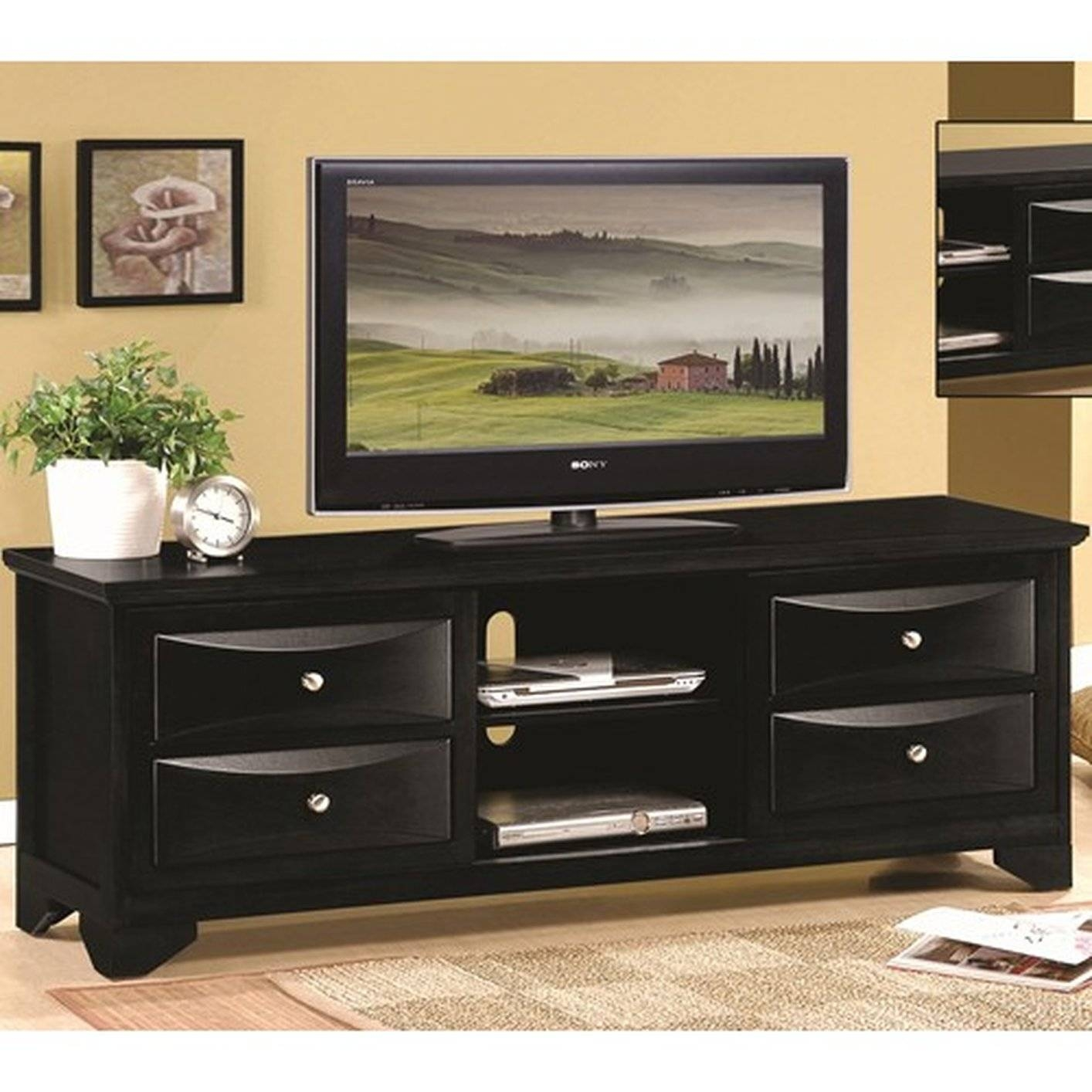 Black Wood Tv Stand - Steal-A-Sofa Furniture Outlet Los Angeles Ca intended for Black Tv Cabinets With Drawers (Image 5 of 15)