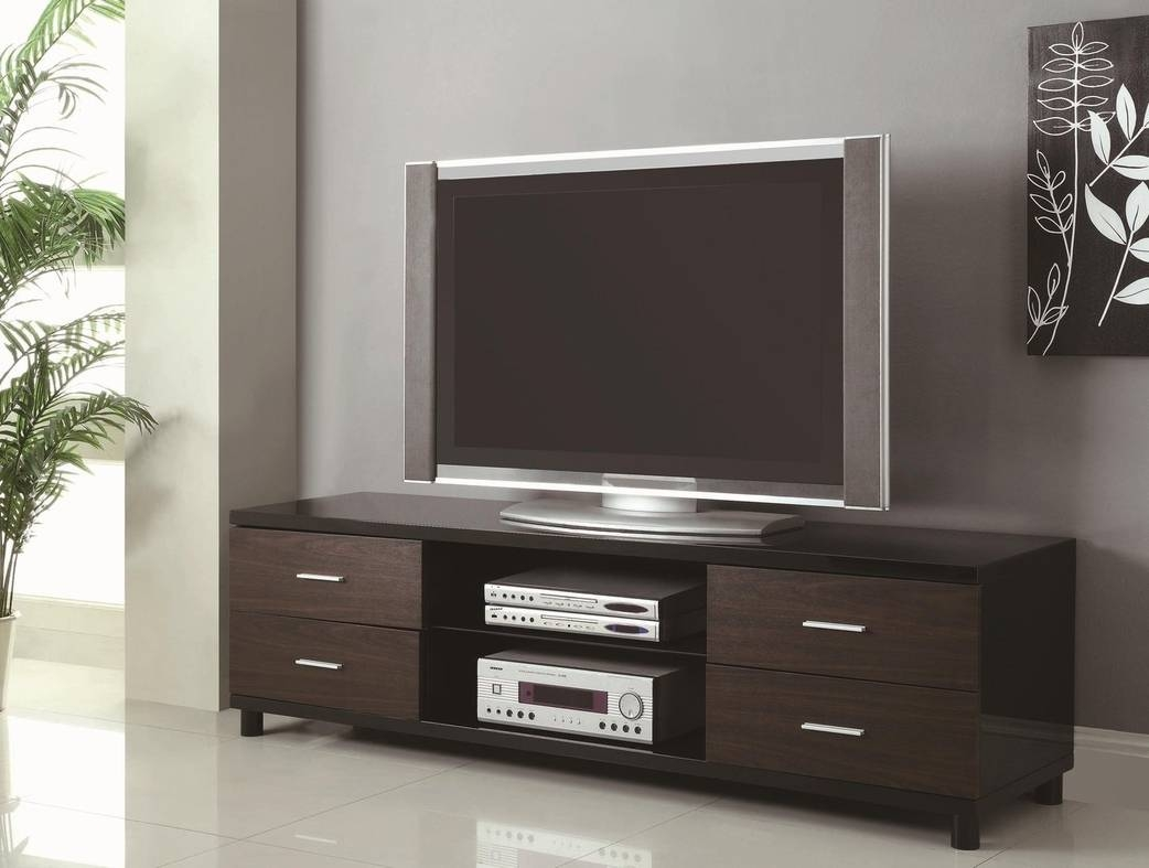 Black Wood Tv Stand - Steal-A-Sofa Furniture Outlet Los Angeles Ca with regard to Dark Wood Tv Stands (Image 3 of 15)