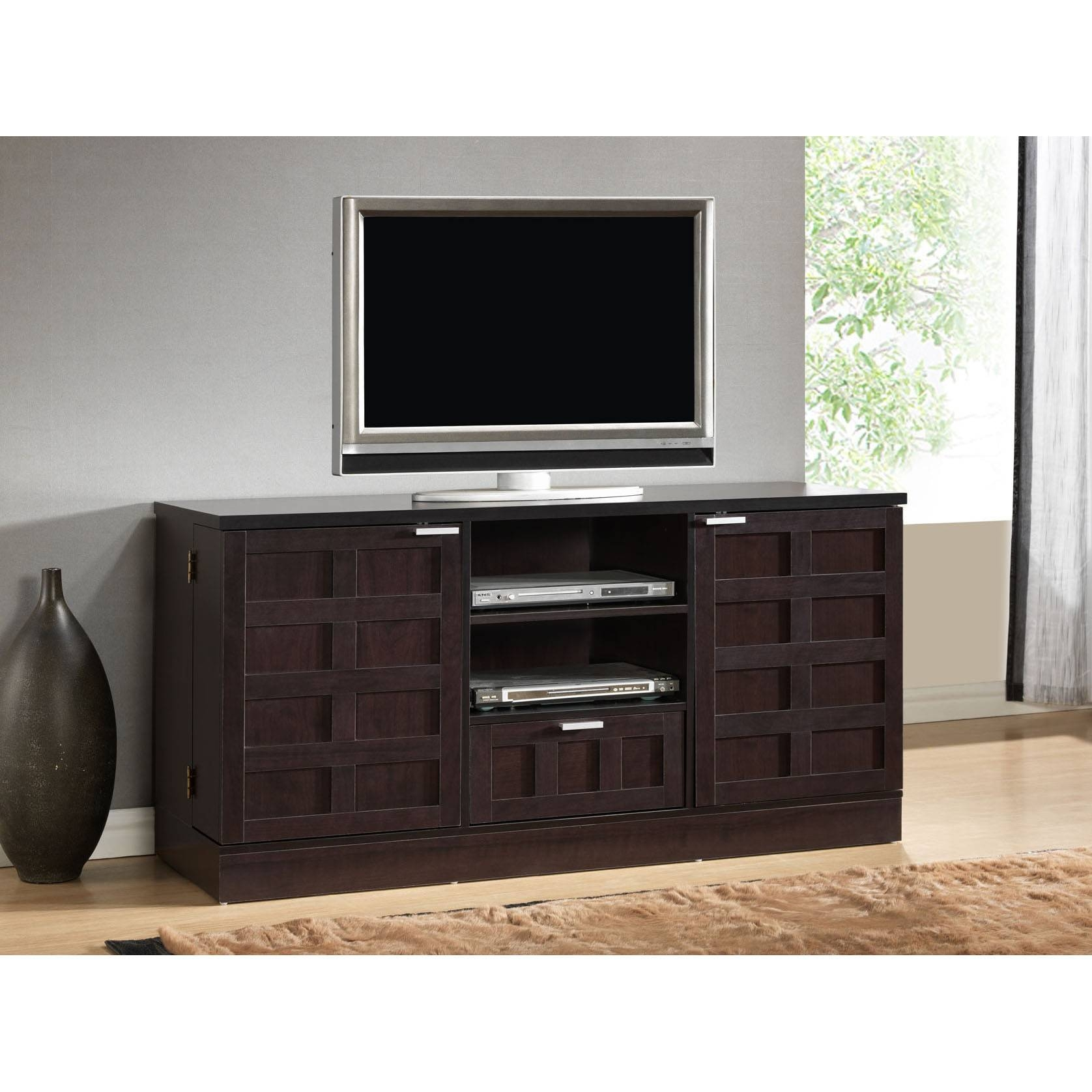 Black Wooden Tv Cabinet With Doors And Racks Also Single Drawer On with Black Tv Cabinets With Drawers (Image 6 of 15)