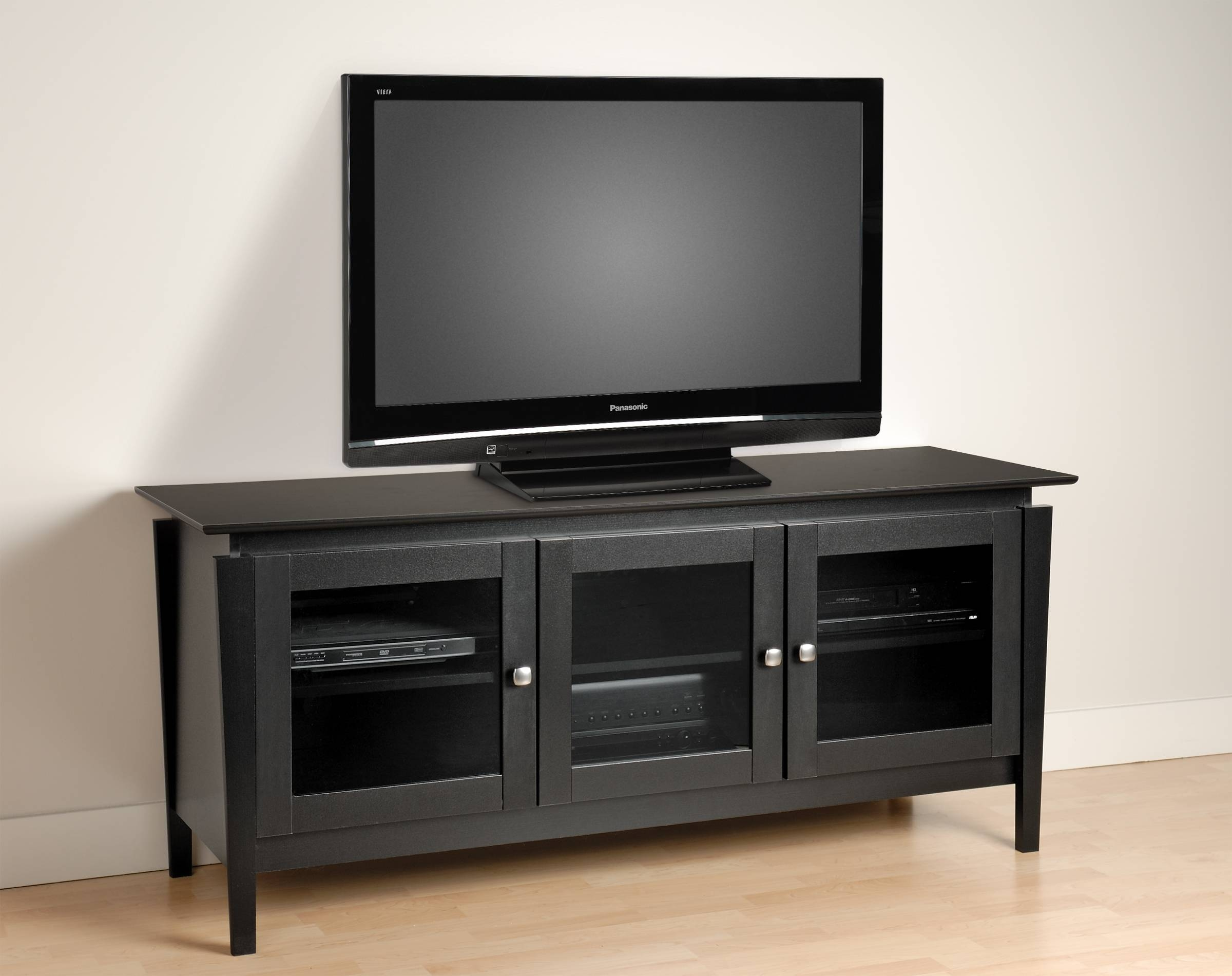 Black Wooden Tv Cabinets With Glass Doors And Steel Knob On Short regarding Wooden Tv Cabinets With Glass Doors (Image 3 of 15)