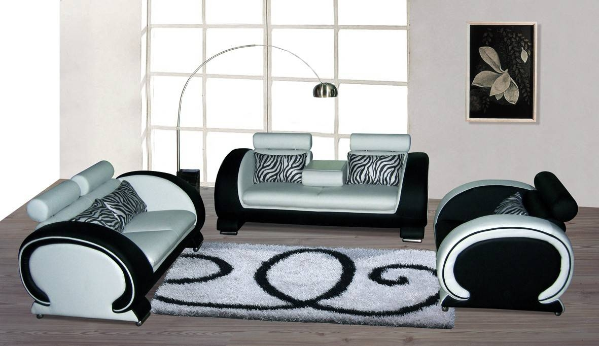 Blossom White And Black Top Graded Real Leather Sofa Best Hd with regard to Black And White Leather Sofas (Image 7 of 15)