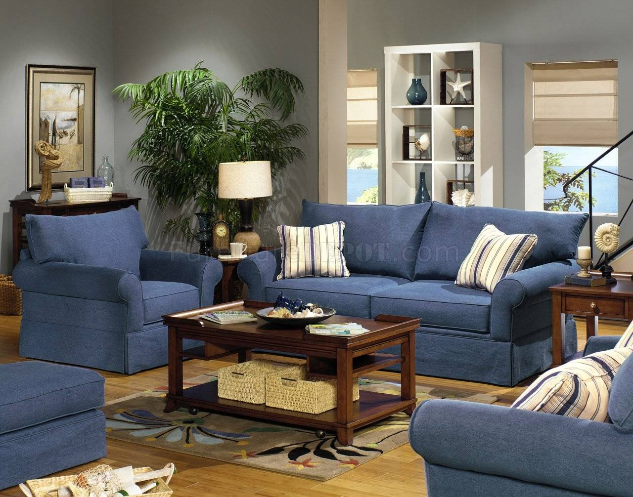 Blue Denim Fabric Modern Sofa & Loveseat Set W/options intended for Denim Sofas And Loveseats (Image 1 of 15)