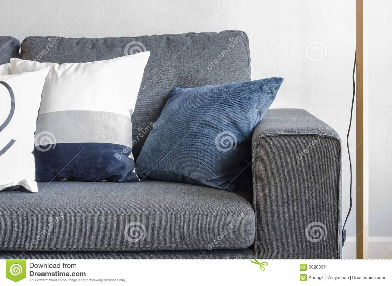 Blue Pillows On Modern Grey Sofa Stock Photo - Image: 60208671 intended for Blue Grey Sofas (Image 2 of 15)