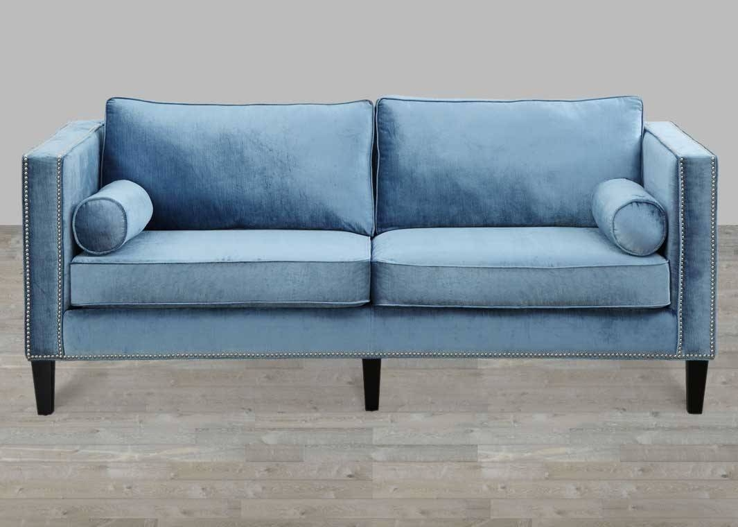 Blue Velvet Sofa With Nailheads throughout Blue Velvet Tufted Sofas (Image 2 of 15)
