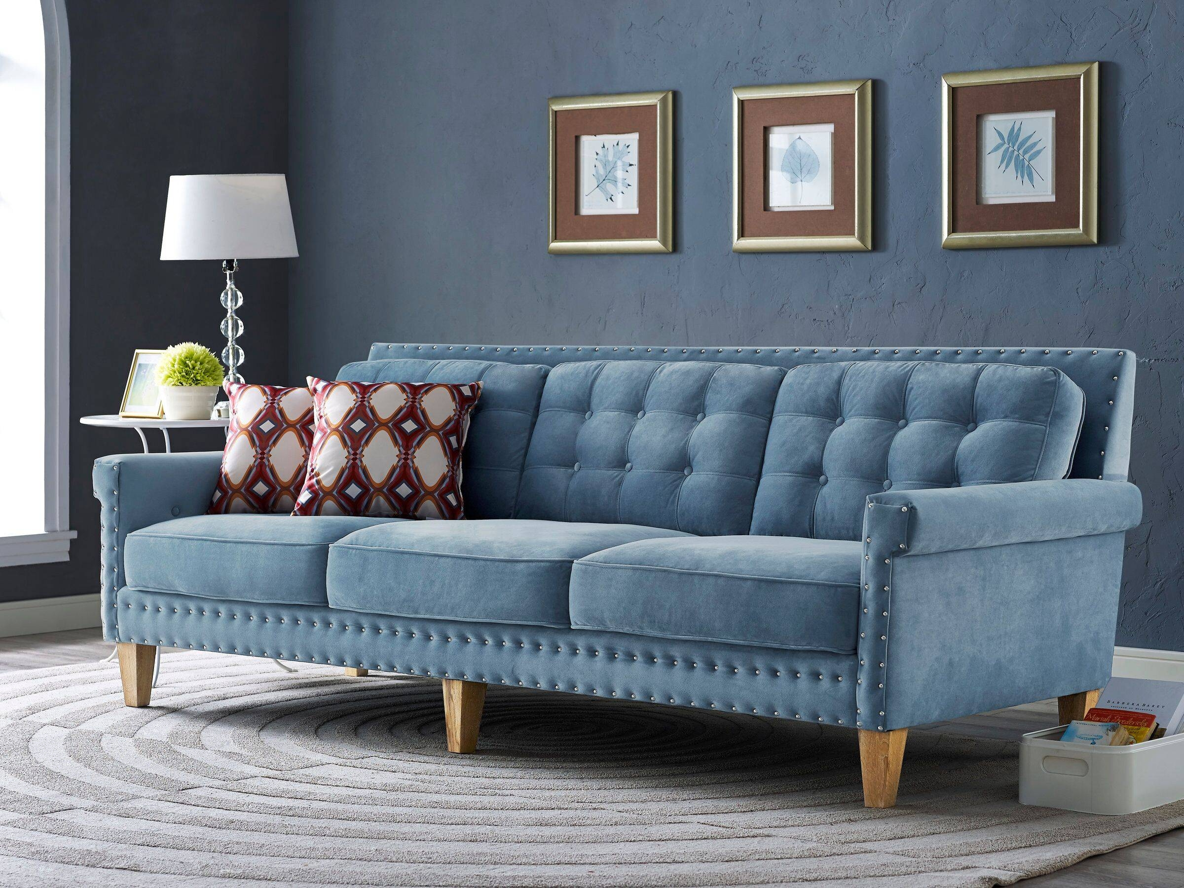 Blue Velvet Tufted Sofa Nail Head Accents with regard to Blue Velvet Tufted Sofas (Image 3 of 15)