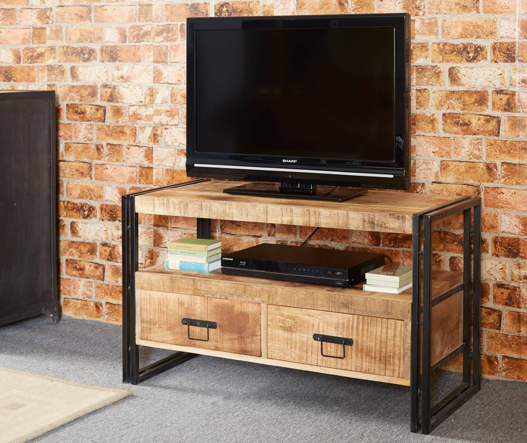 Bonsoni Baudouin Industrial Tv Stand Made From Reclaimed Metal And with regard to Reclaimed Wood and Metal Tv Stands (Image 4 of 15)