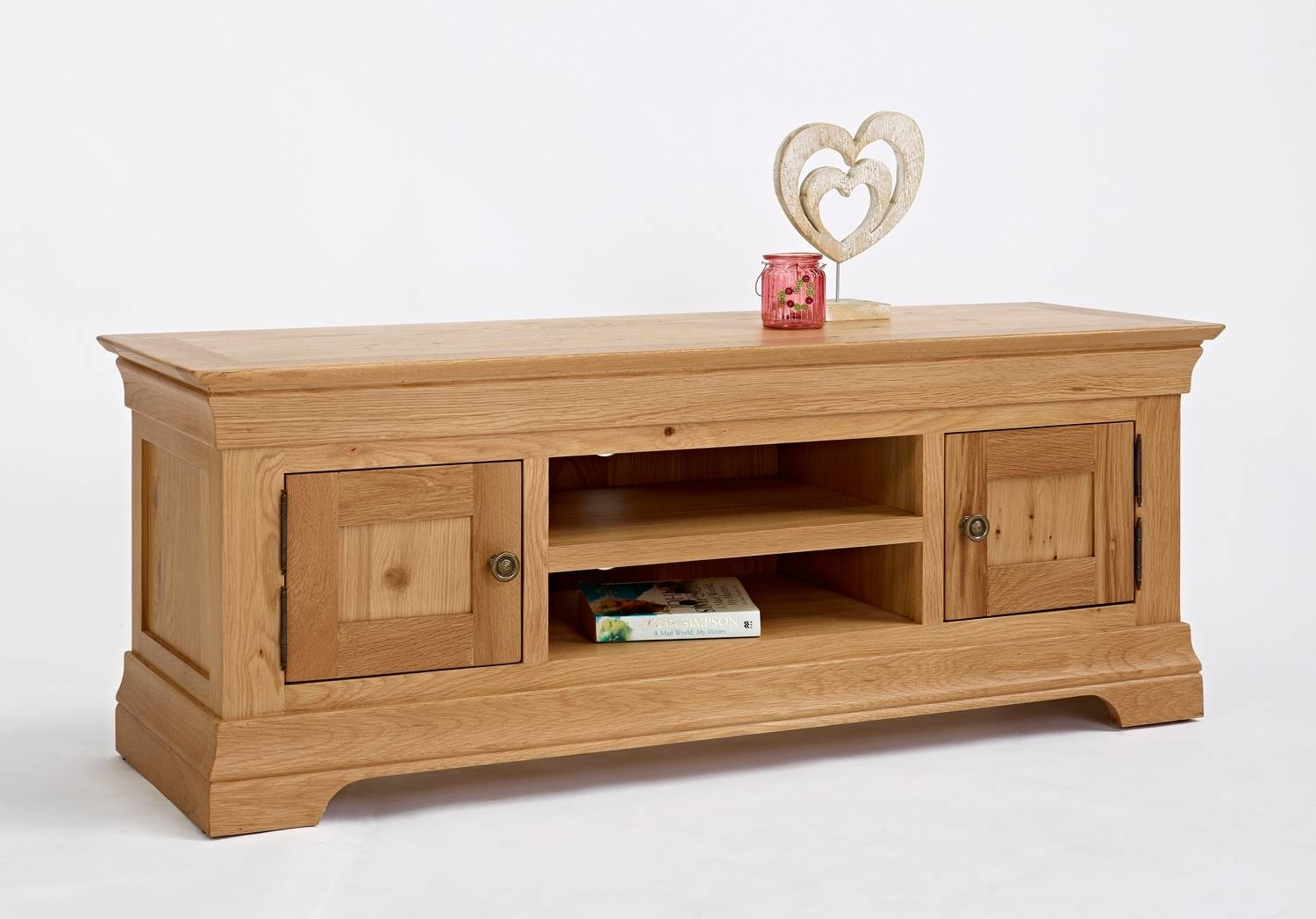 Bordeaux Oak Large Tv Unit | Oak Furniture Solutions pertaining to Solid Oak Tv Cabinets (Image 4 of 15)