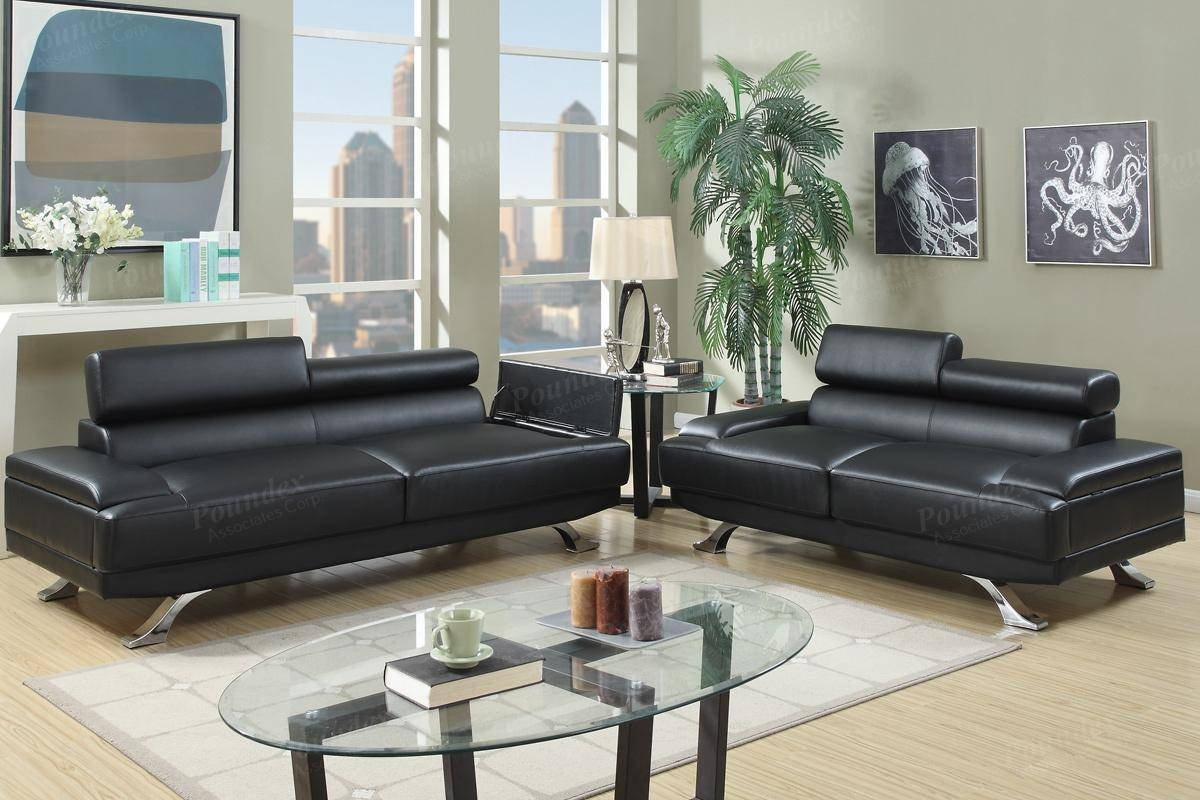 Boyn Black Leather Sofa And Loveseat Set - Steal-A-Sofa Furniture in Black Leather Sofas and Loveseats (Image 5 of 15)