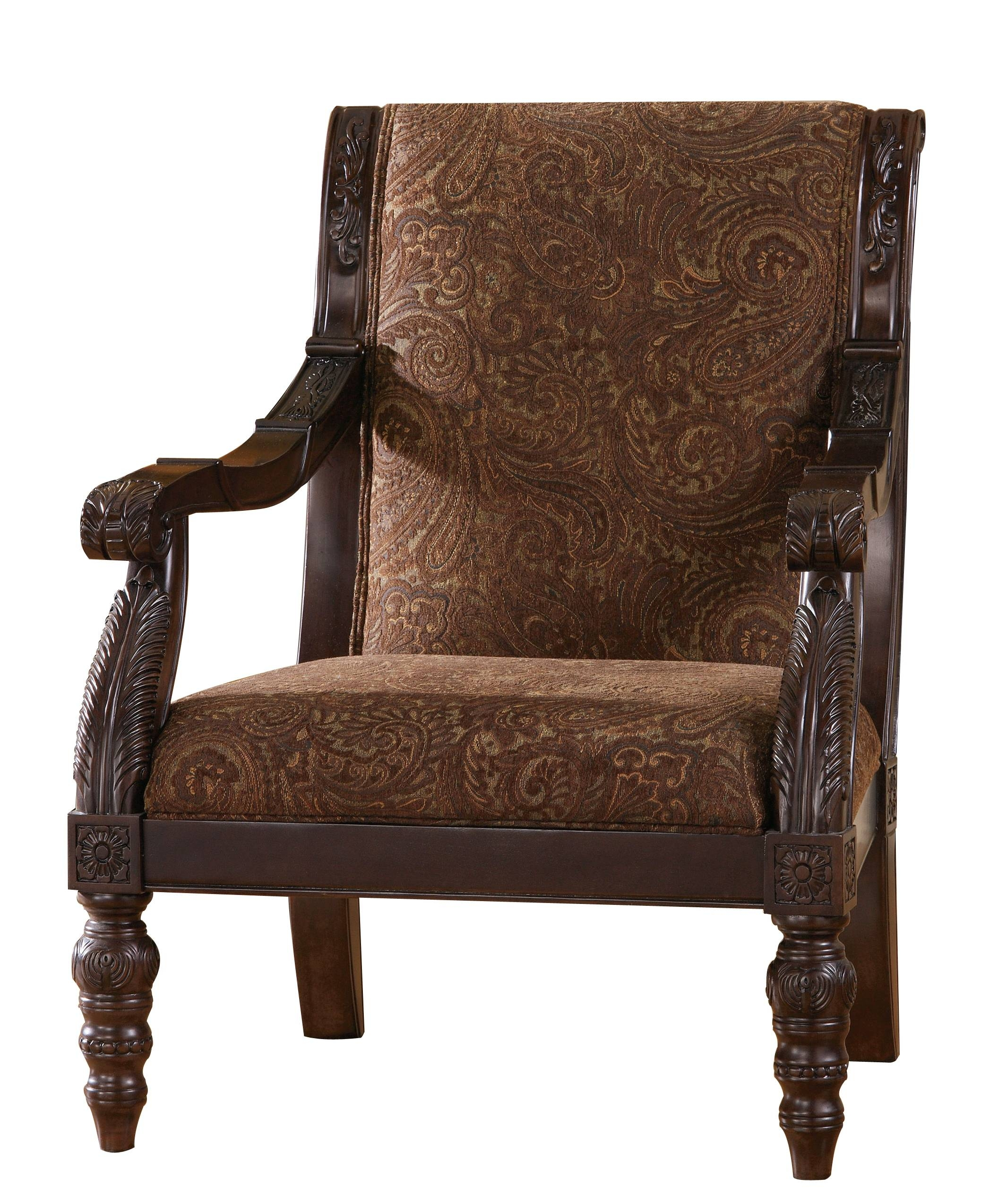 Bradington Traditional Truffle Fabric Accent Chair | Living Rooms in Bradington Truffle (Image 3 of 15)