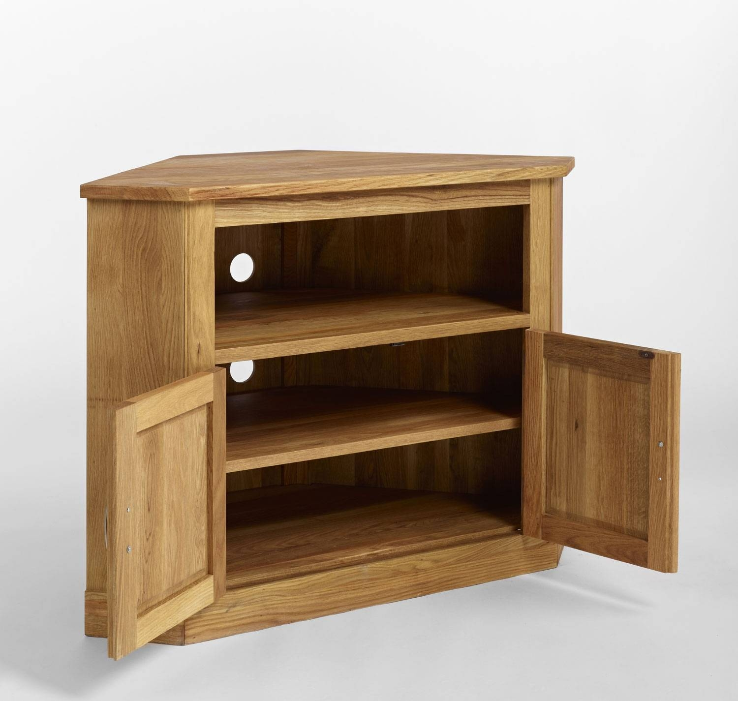 Brooklyn Contemporary Oak Corner Tv Cabinet Oak Furniture intended for Contemporary Oak Tv Cabinets (Image 2 of 15)