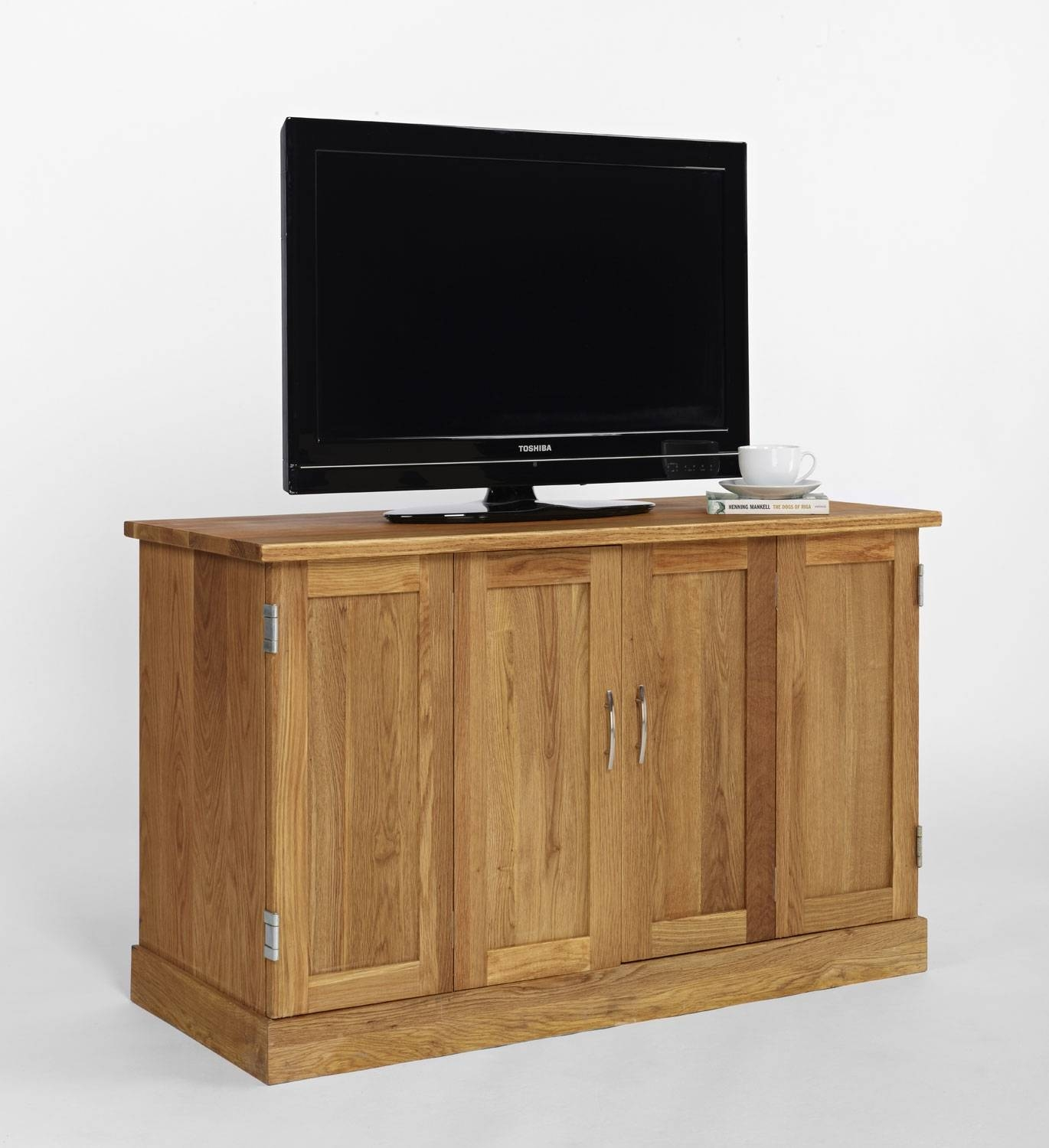 Brooklyn Contemporary Oak Widescreen Tv Cabinet for Contemporary Oak Tv Cabinets (Image 3 of 15)
