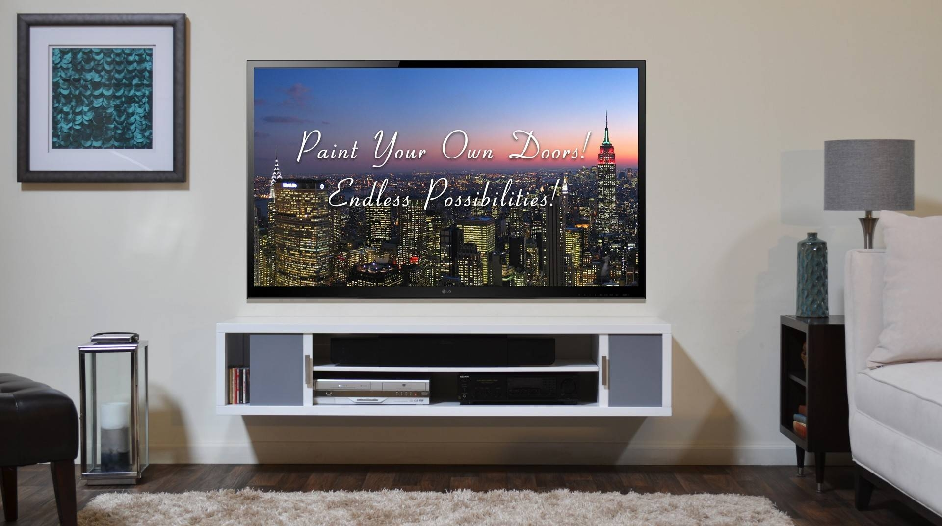 Brown And Yellow Stained Particle Board Integrated Tv Stand With Intended For White Wall Mounted Tv Stands (View 5 of 15)