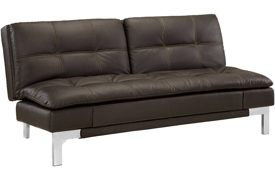 Brown Leather Sofa Bed Futon | Valencia Serta Euro Lounger | The throughout Euro Lounger Sofa Beds (Image 2 of 15)