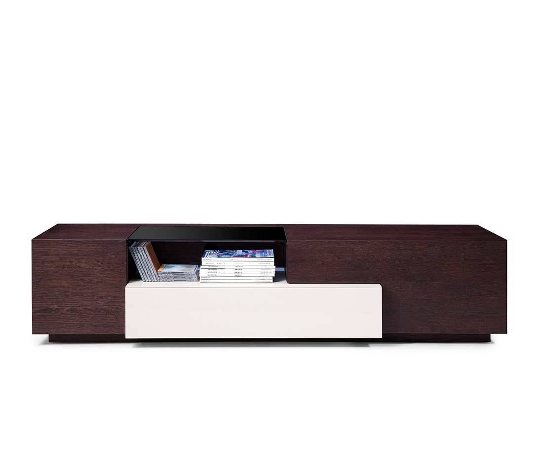 Brown Oak Grey Lacquer Tv Unit Sj015 | Tv Stands within Contemporary Oak Tv Stands (Image 1 of 15)