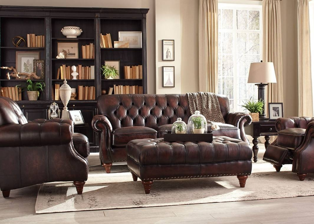 Brown Top Grain Button Tufted Leather Sofa inside Brown Tufted Sofas (Image 3 of 15)