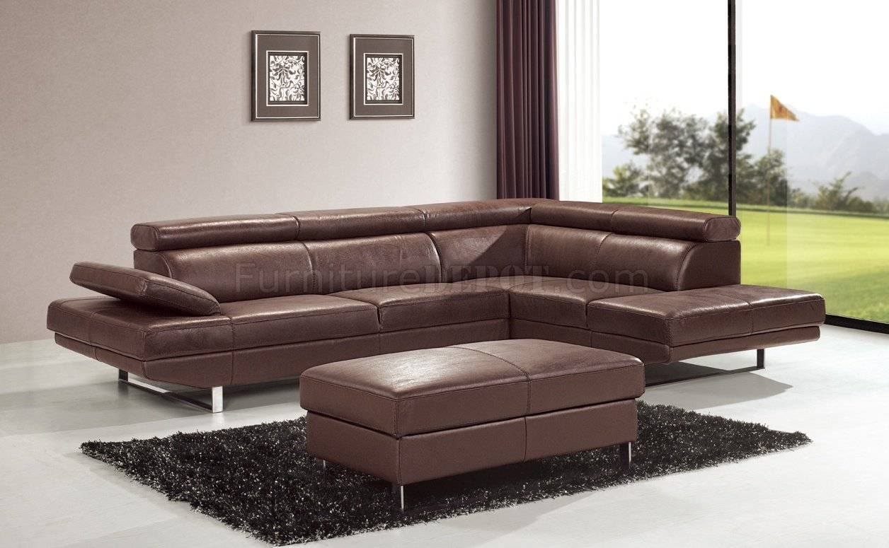 Brown Top Grain Full Leather Modern Sectional Sofa W/metal Legs Intended For Contemporary Brown Leather Sofas (View 6 of 15)