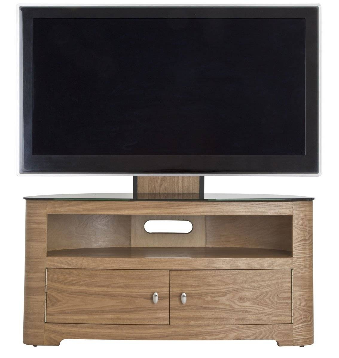 Brown Varnished Maple Wood Tv Stand With Mount Using Double Swing regarding Maple Wood Tv Stands (Image 1 of 15)