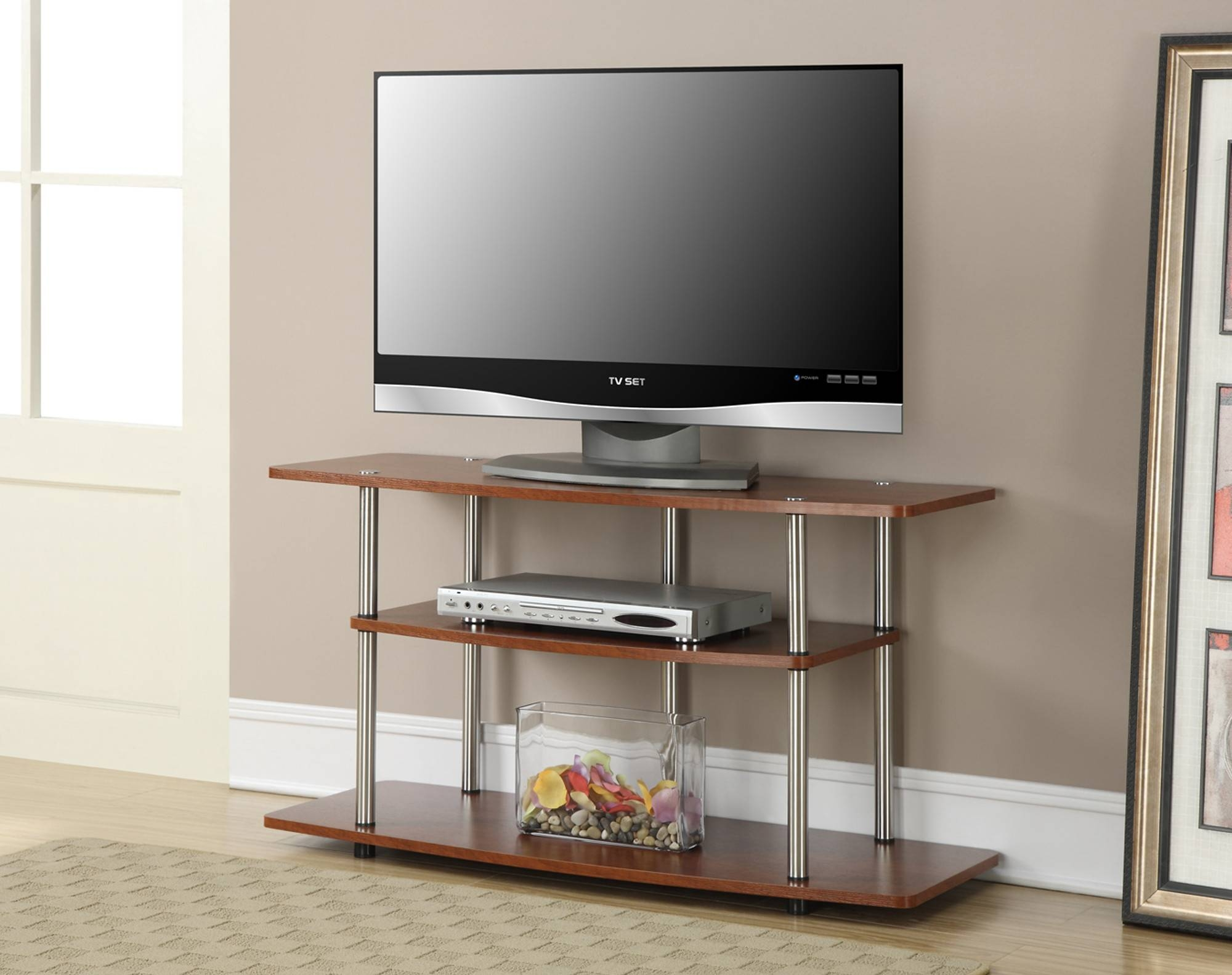 Brown Varnished Wooden Open Shelves Tv Stand With Chromed Metal Inside Stylish Tv Cabinets (View 6 of 15)