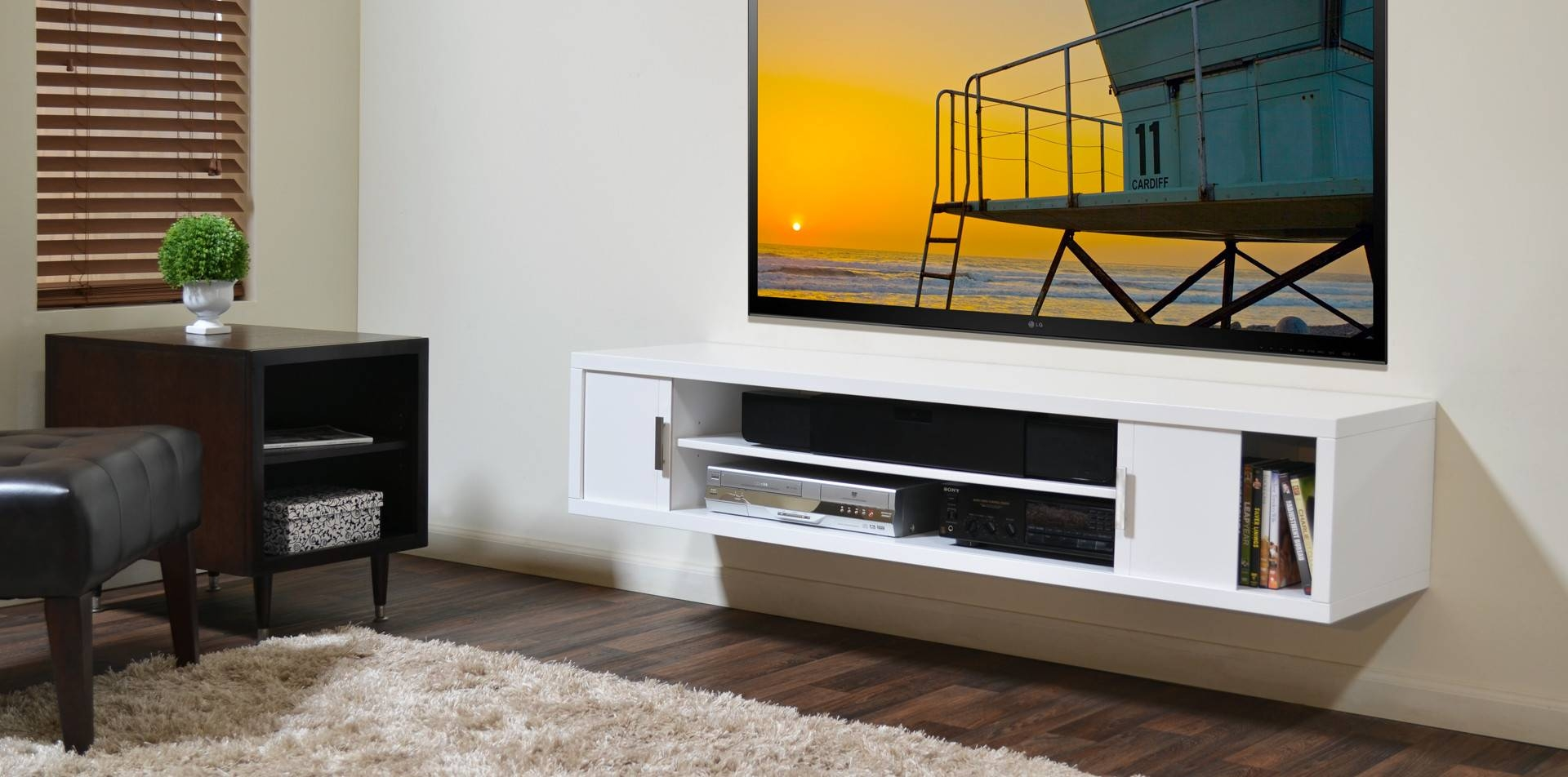 Brown Wall Mounted Media Shelf And Tv Stand - Decofurnish intended for Single Shelf Tv Stands (Image 3 of 15)