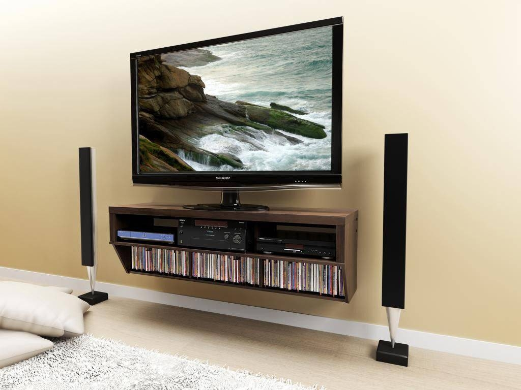 Brown Wall Mounted Media Shelf And Tv Stand - Decofurnish intended for Single Shelf Tv Stands (Image 2 of 15)
