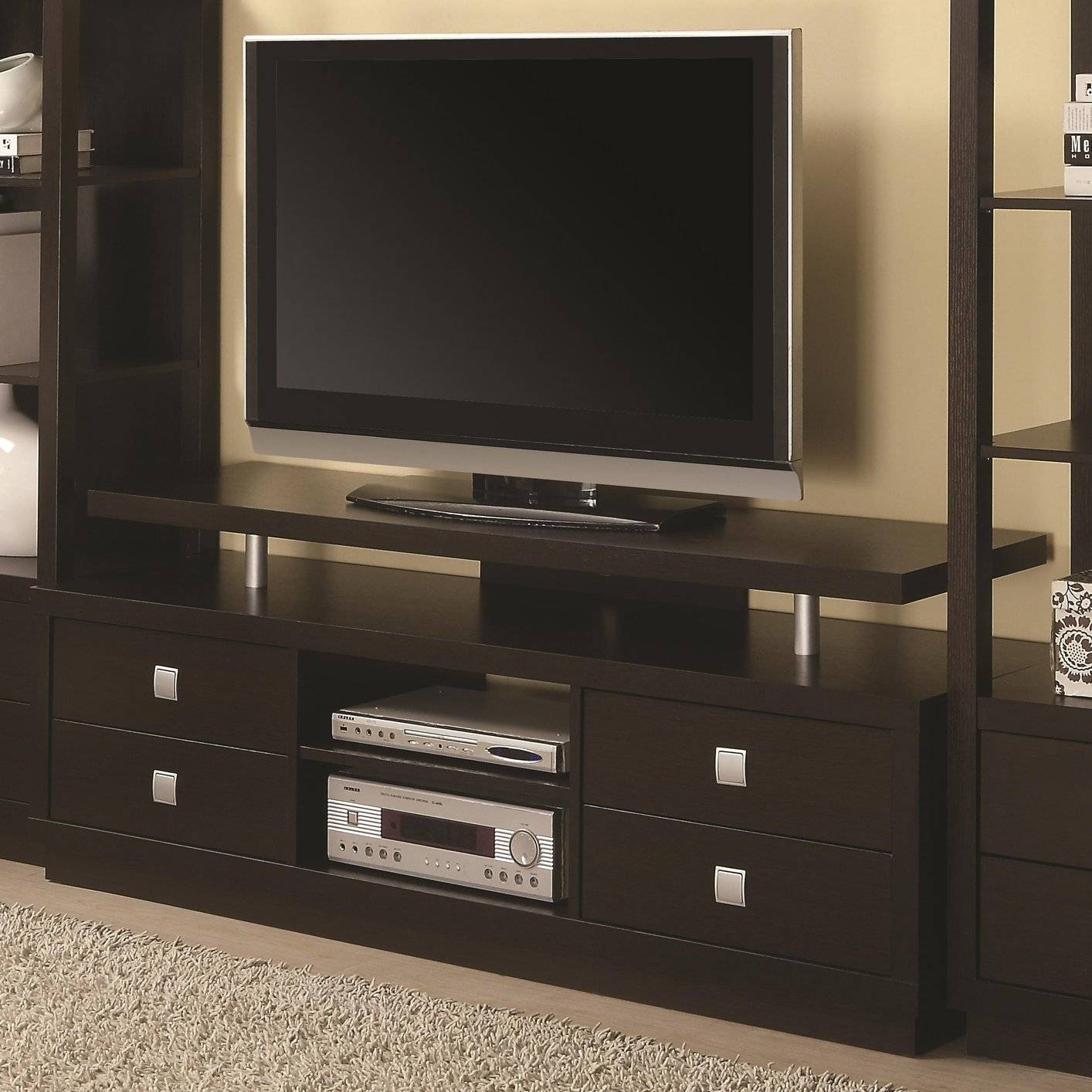 Brown Wood Tv Stand - Steal-A-Sofa Furniture Outlet Los Angeles Ca with regard to Wood Tv Entertainment Stands (Image 2 of 15)