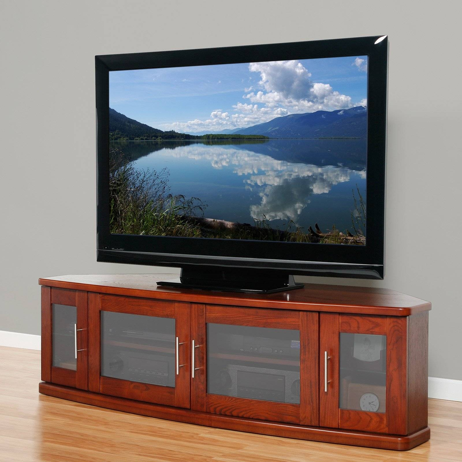 Brown Wooden Tv Cabinet With Glass Frosted Doors On The Floor with regard to Wooden Tv Cabinets With Glass Doors (Image 4 of 15)