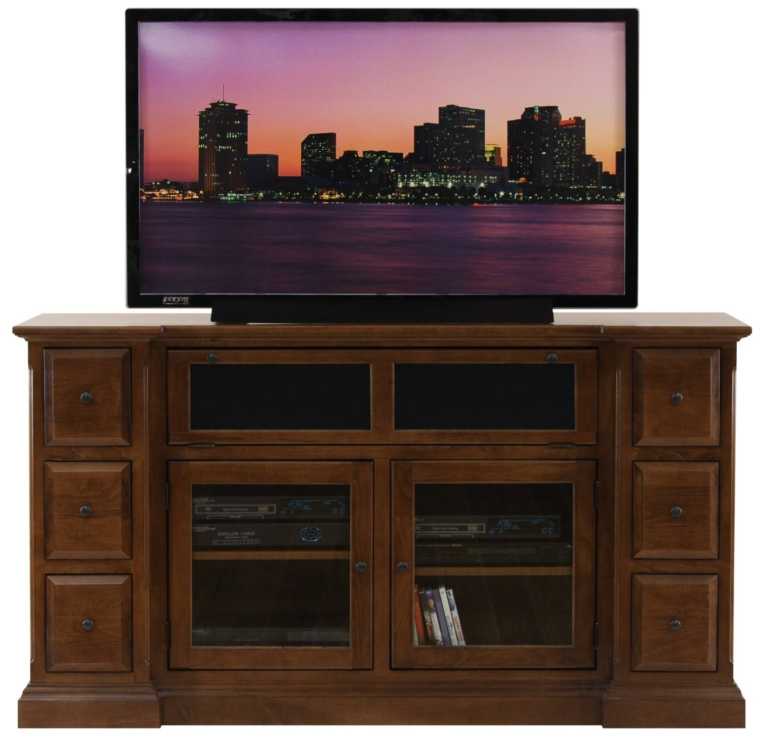Brown Wooden Tv Stand With Storage With Glass Doors Combined With with Wooden Tv Cabinets With Glass Doors (Image 4 of 15)