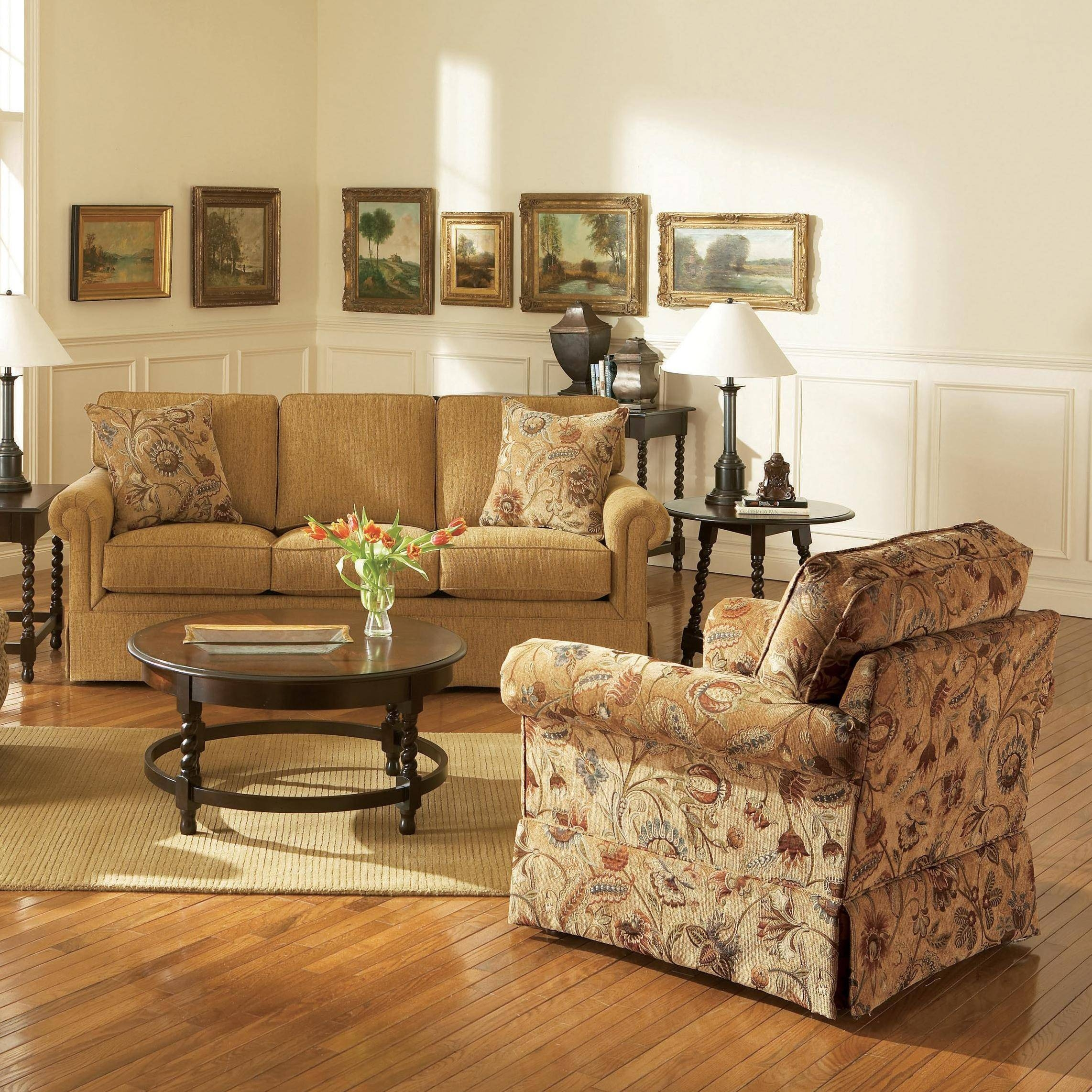 Broyhill Furniture Audrey Chair And Ottoman With Skirt   Wayside Intended For Broyhill Sofas (Photo 13 of 15)