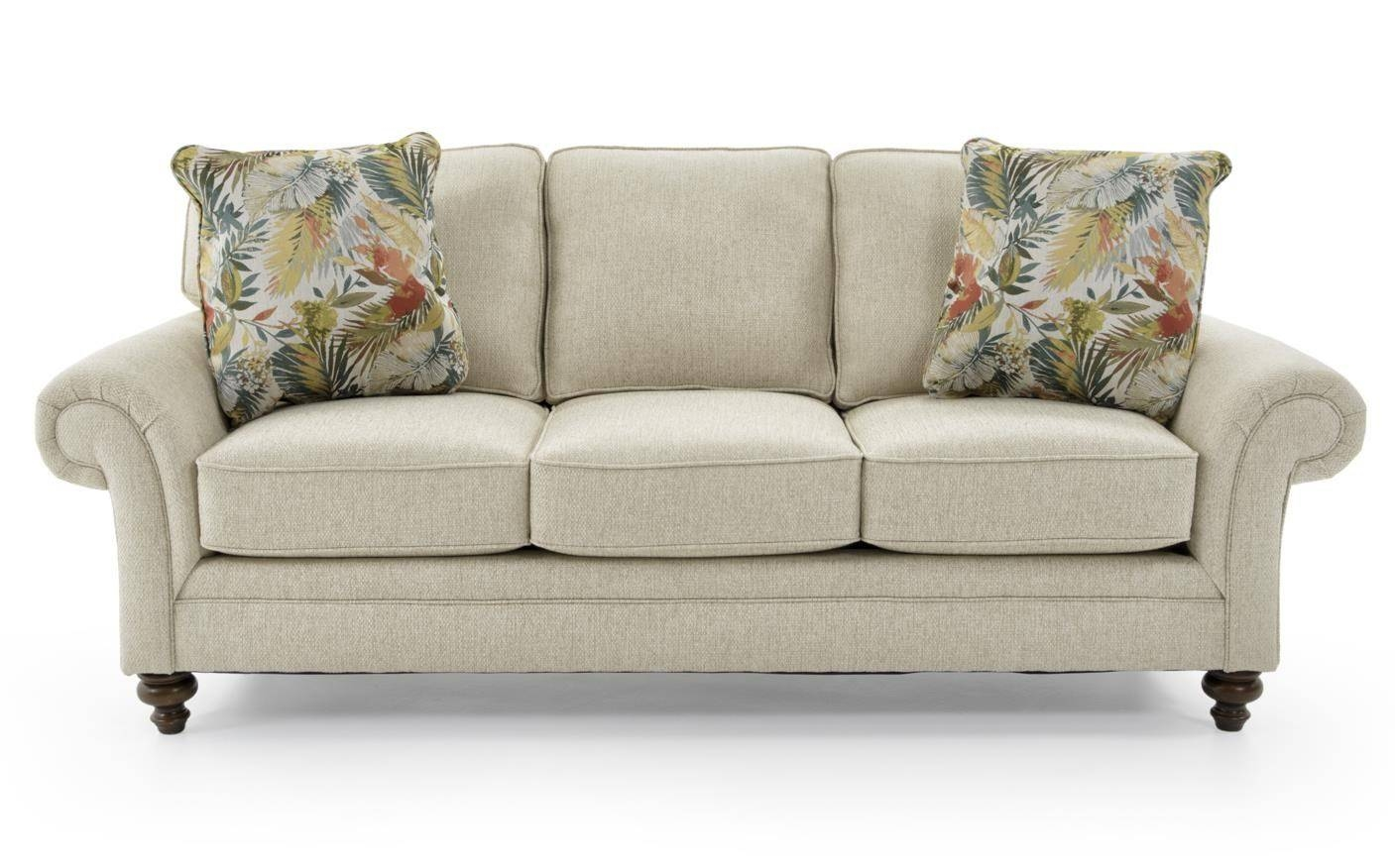 Broyhill Furniture Larissa Upholstered Stationary Sofa With Rolled Within Broyhill Sofas (Photo 15 of 15)