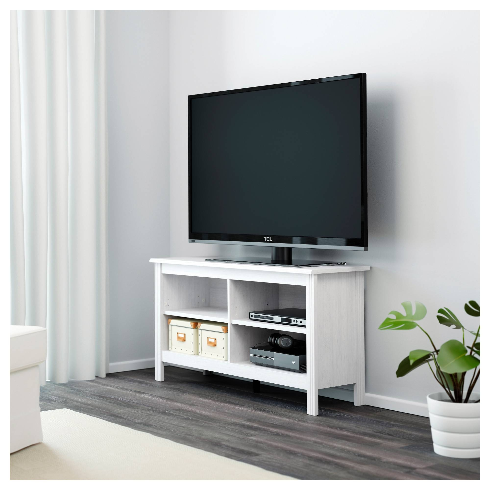 Brusali Tv Bench White 120x62 Cm – Ikea Intended For Small White Tv Stands (View 12 of 15)