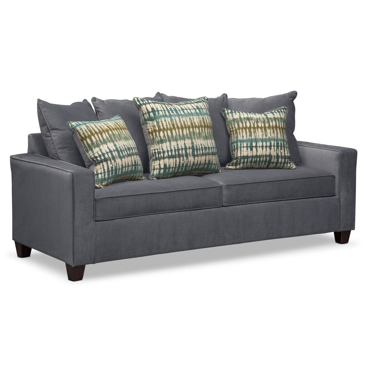 Bryden Queen Memory Foam Sleeper Sofa - Slate | Value City Furniture within Queen Convertible Sofas (Image 2 of 15)