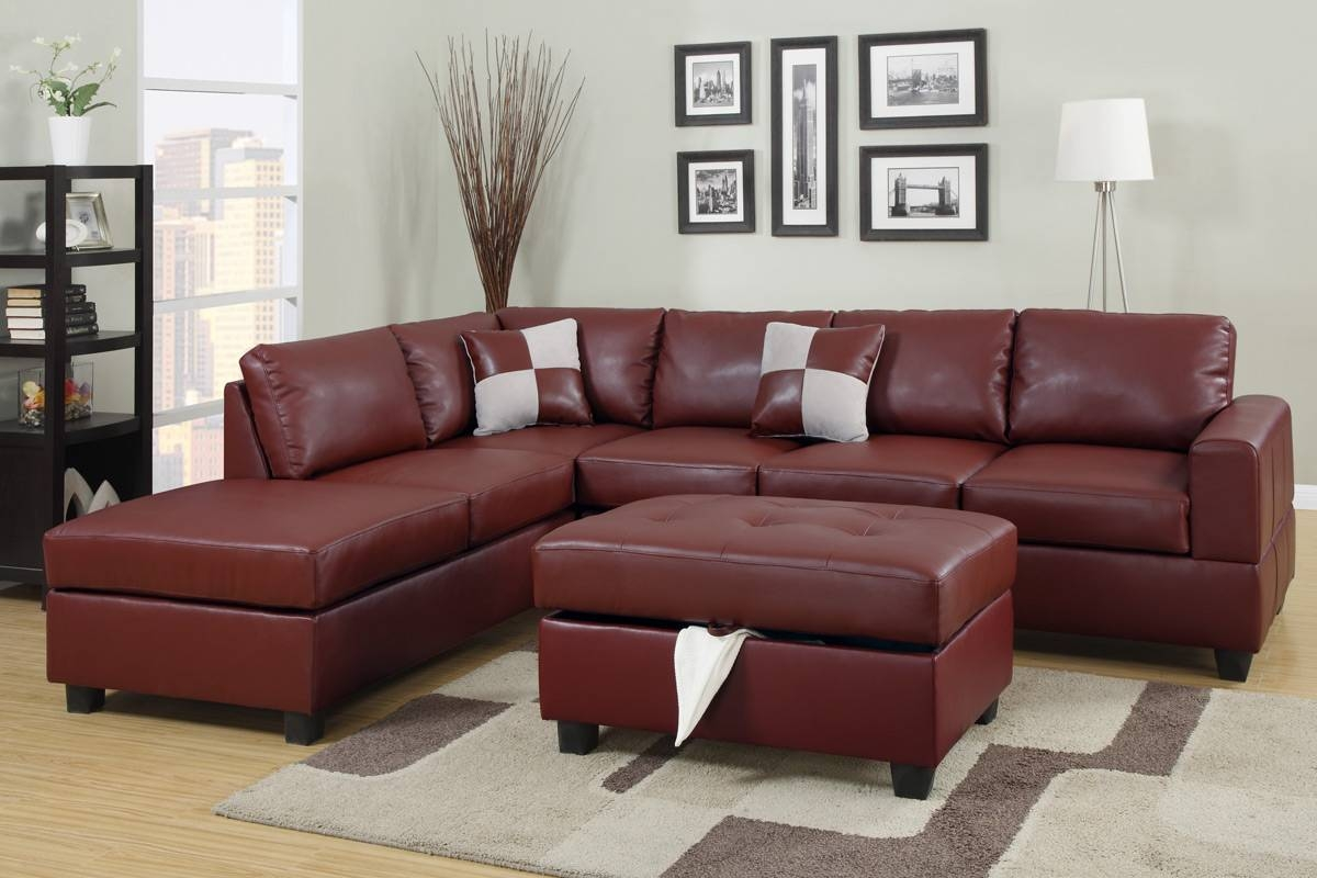 Burgundy Bonded Leather Sectional Sofa Set - Huntington Beach with Burgundy Sectional Sofas (Image 3 of 15)