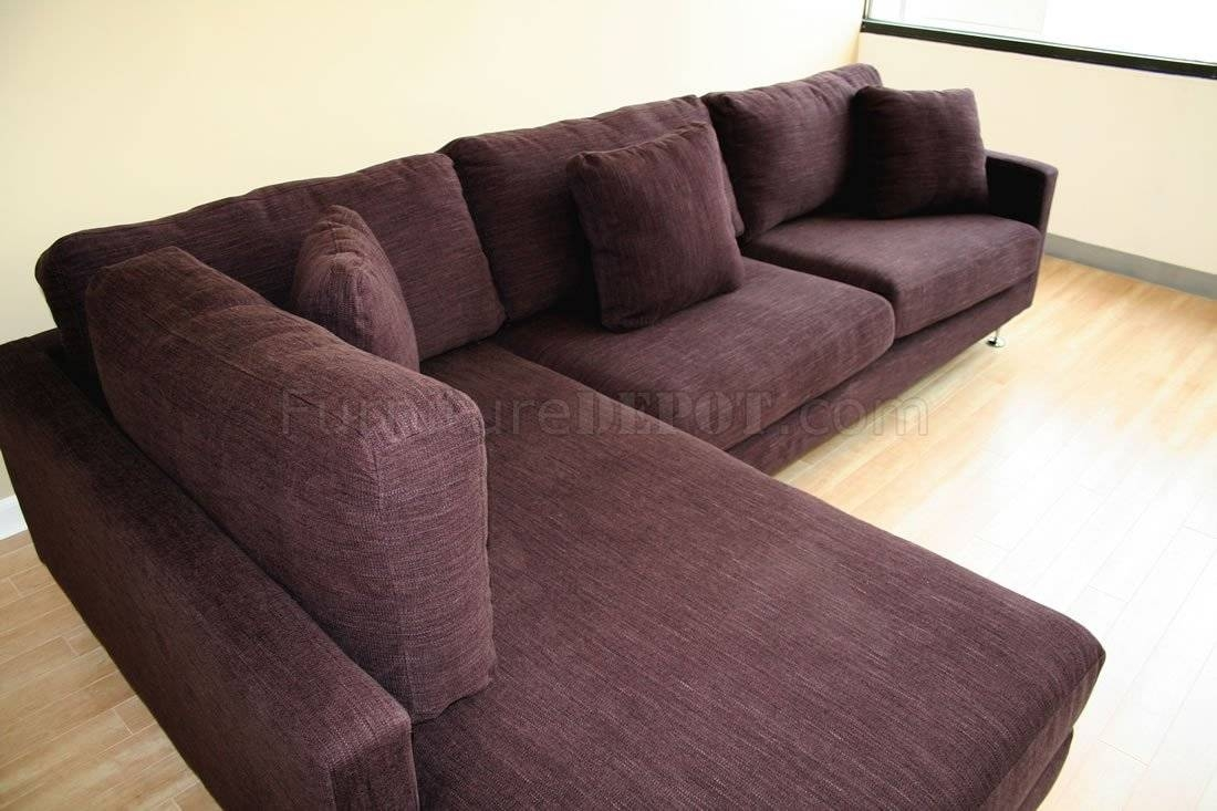 Burgundy Fabric Sectional Sofa With Metal Legs pertaining to Burgundy Sectional Sofas (Image 4 of 15)