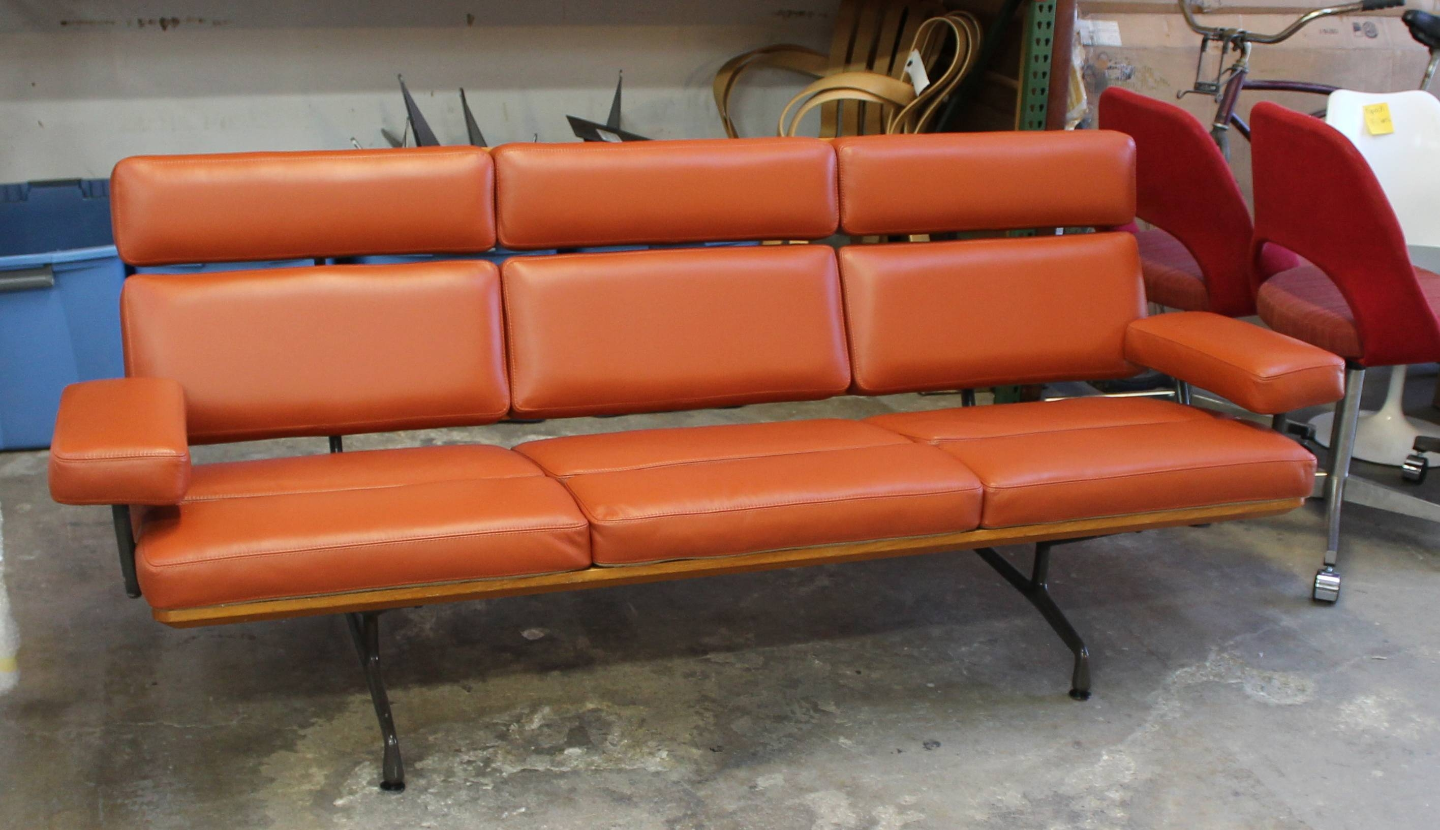 Burnt Orange Leather Sofa - Radiovannes within Burnt Orange Leather Sofas (Image 4 of 15)