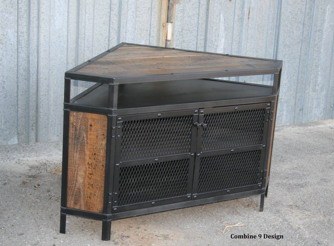 Buy A Custom Vintage Industrial Tv Stand - Corner Unit Media throughout Industrial Corner Tv Stands (Image 3 of 15)