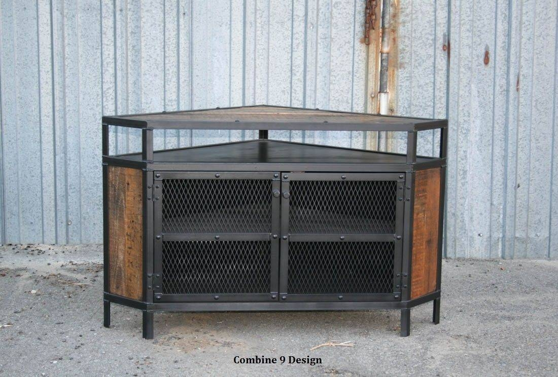 Buy A Custom Vintage Industrial Tv Stand - Corner Unit Media throughout Industrial Metal Tv Stands (Image 4 of 15)