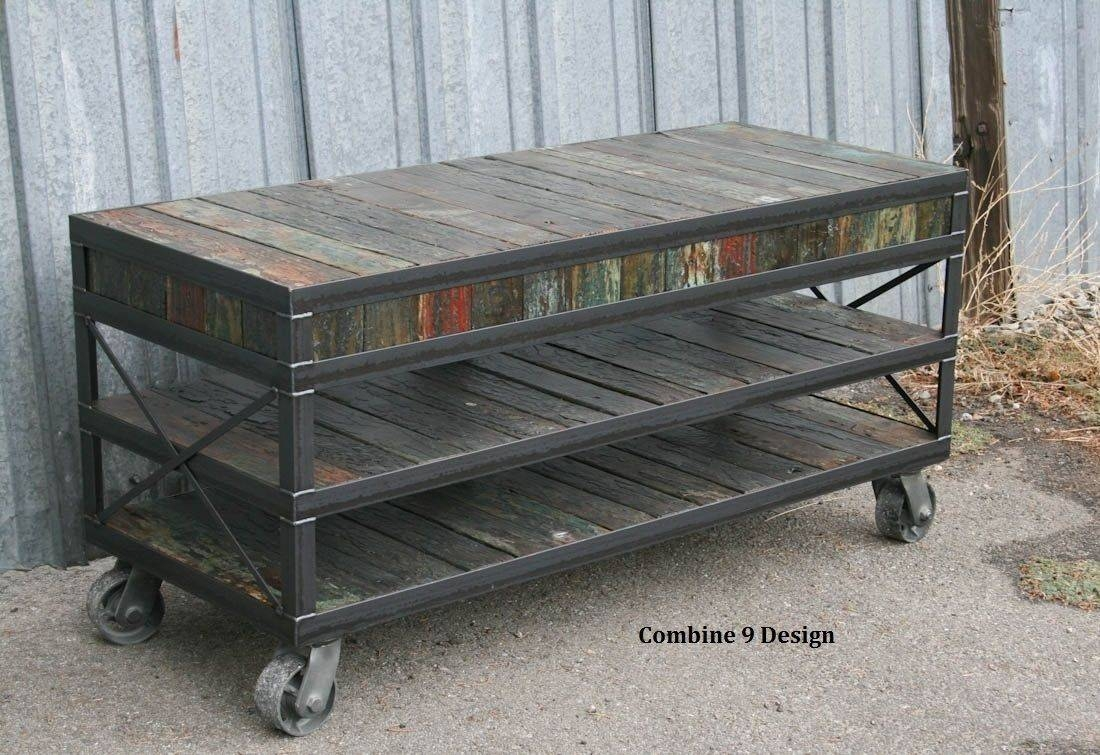 Buy A Hand Made Industrial Tv Stand. Reclaimed Wood & Steel regarding Industrial Tv Cabinets (Image 2 of 15)