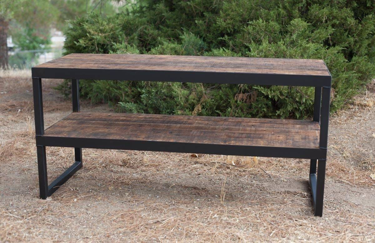 Buy A Hand Made Industrial Tv Stand. Reclaimed Wood & Steel within Reclaimed Wood And Metal Tv Stands (Image 6 of 15)