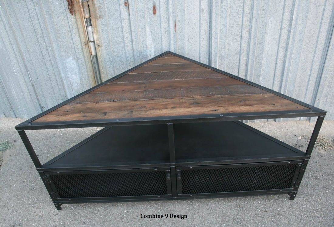 Buy A Handmade Corner Unit / Tv Stand. Vintage/modern Industrial in Reclaimed Wood and Metal Tv Stands (Image 8 of 15)