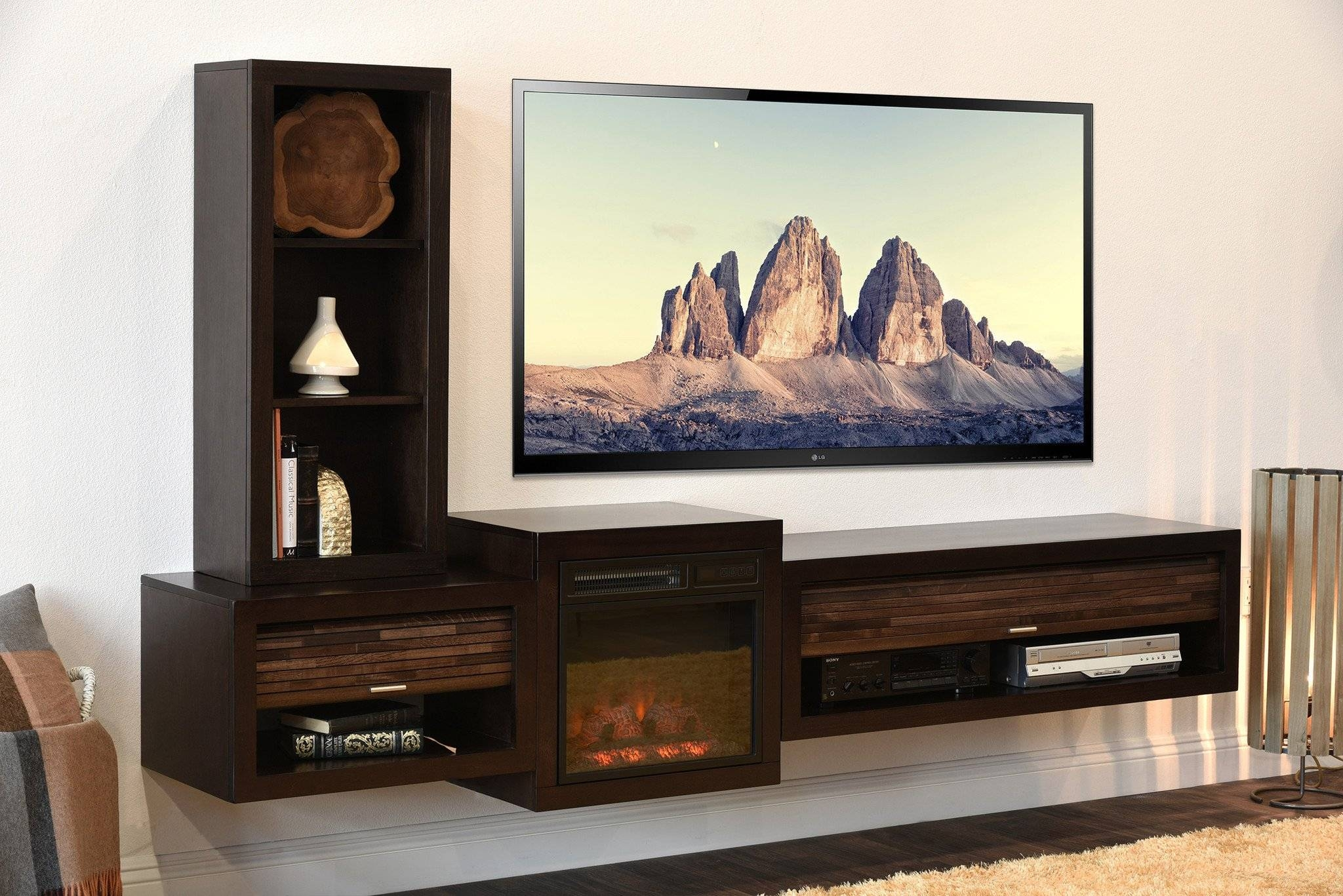 Cabinet: Nice Dark Wood Floating Tv Stand With Fireplace Eco And for Dark Wood Tv Stands (Image 4 of 15)