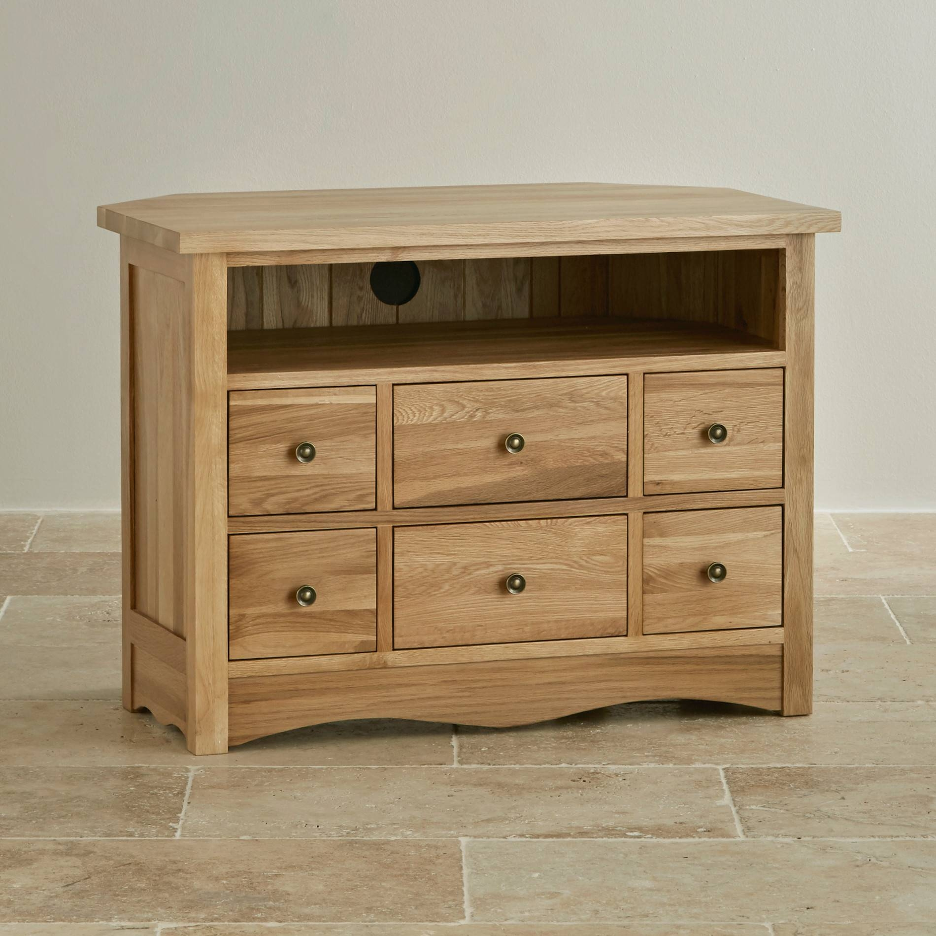Cairo Corner Tv Cabinet In Natural Solid Oak | Oak Furniture Land with Tall Tv Cabinets Corner Unit (Image 2 of 15)
