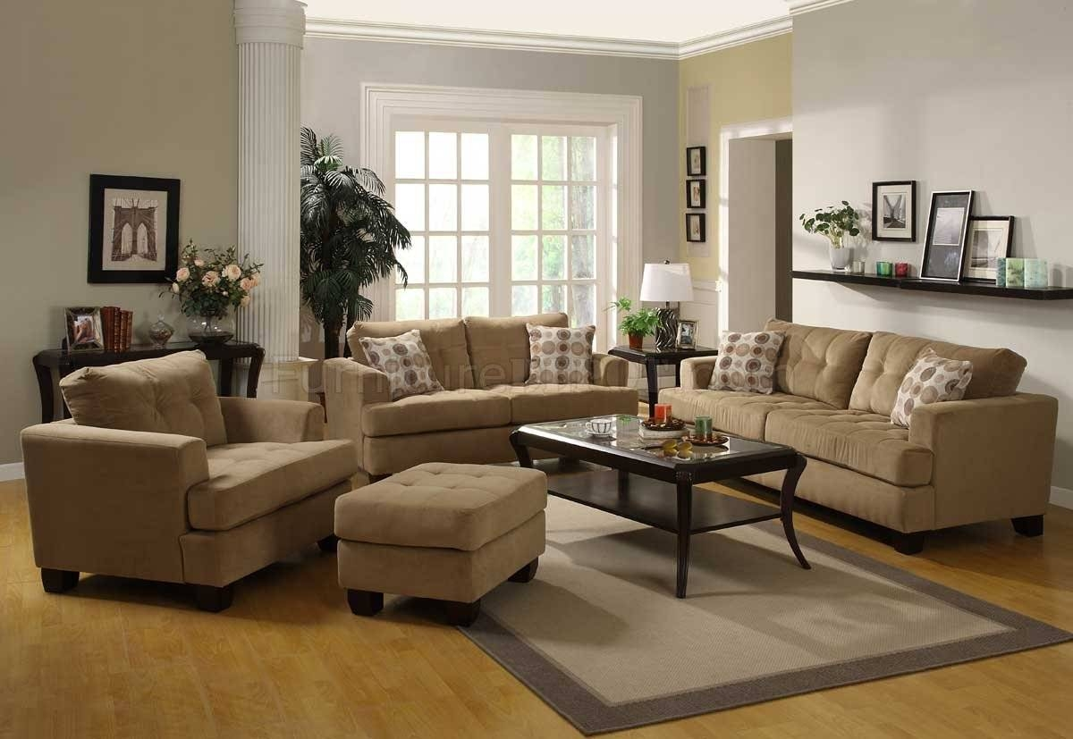 Camel Velvet Fabric Modern Sofa W/optional Items & Toss Pillows inside Camel Color Sofas (Image 9 of 15)