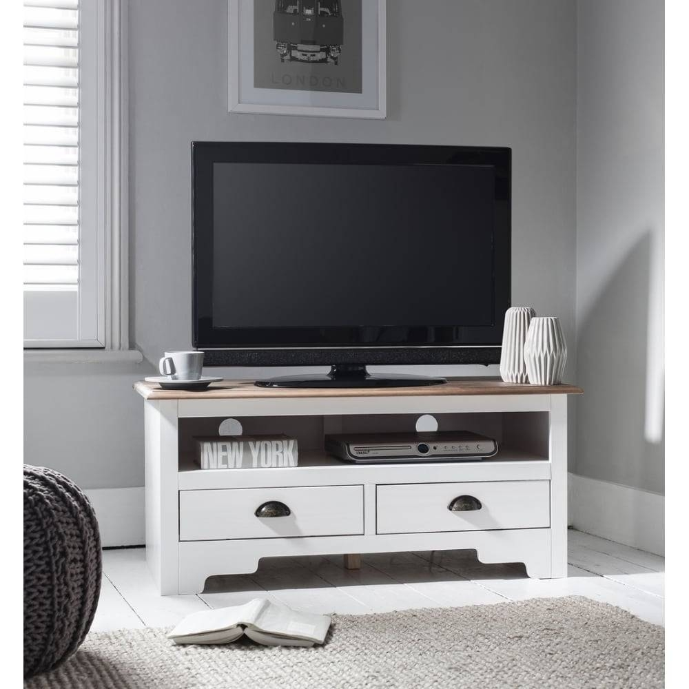 Canterbury Tv Unit In White & Dark Pine | Noa & Nani with Pine Tv Unit (Image 2 of 15)