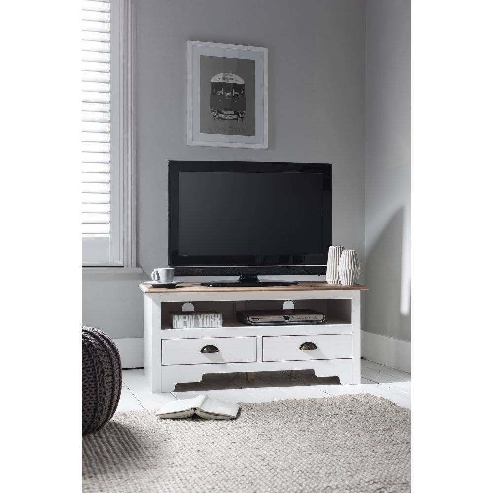 Canterbury Tv Unit In White & Dark Pine | Noa & Nani with regard to White Tv Cabinets (Image 5 of 15)