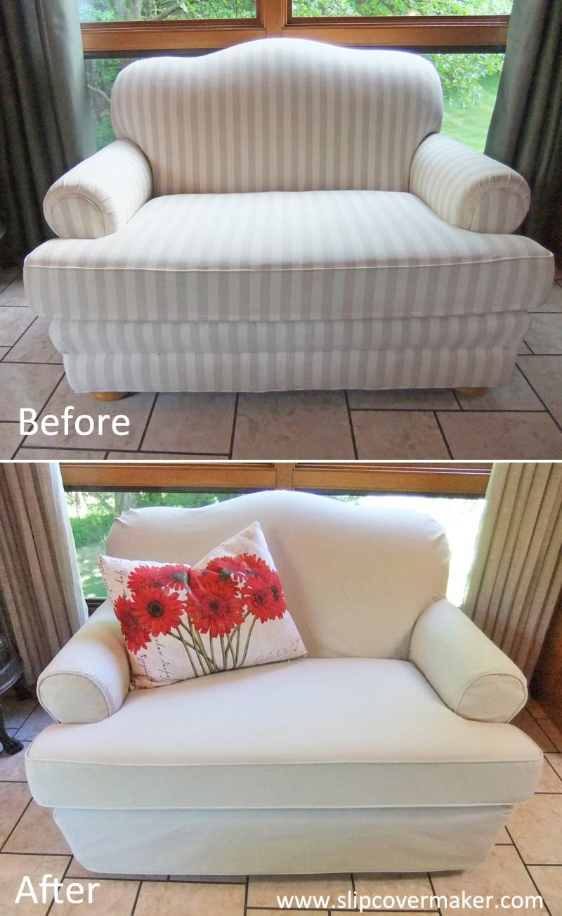 Canvas Slipcover For Camelback Loveseat | The Slipcover Maker pertaining to Camel Back Couch Slipcovers (Image 3 of 15)