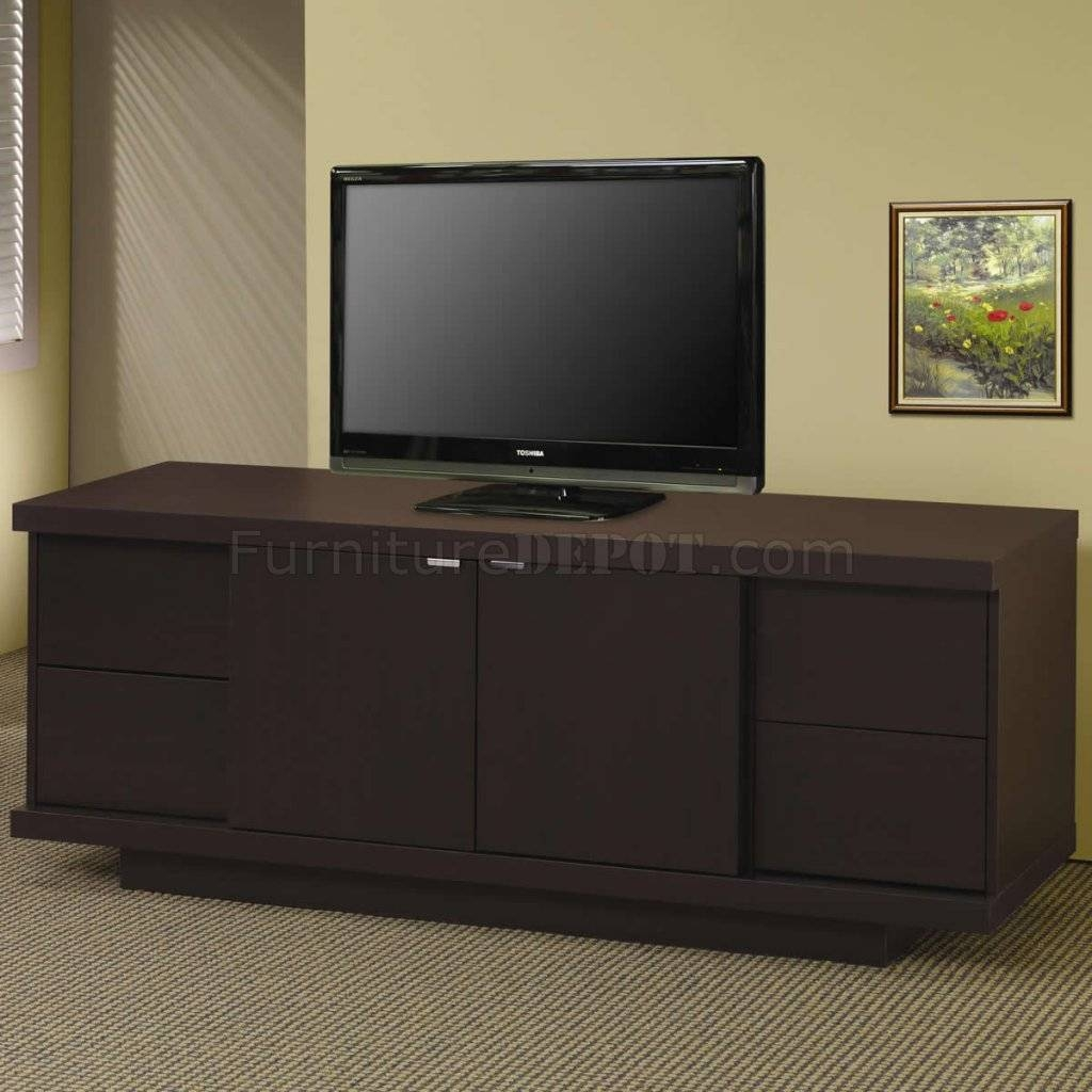 Cappuccino Finish Modern Tv Stand W/four Storage Drawers Inside Tv Stands With Drawers And Shelves (View 7 of 15)