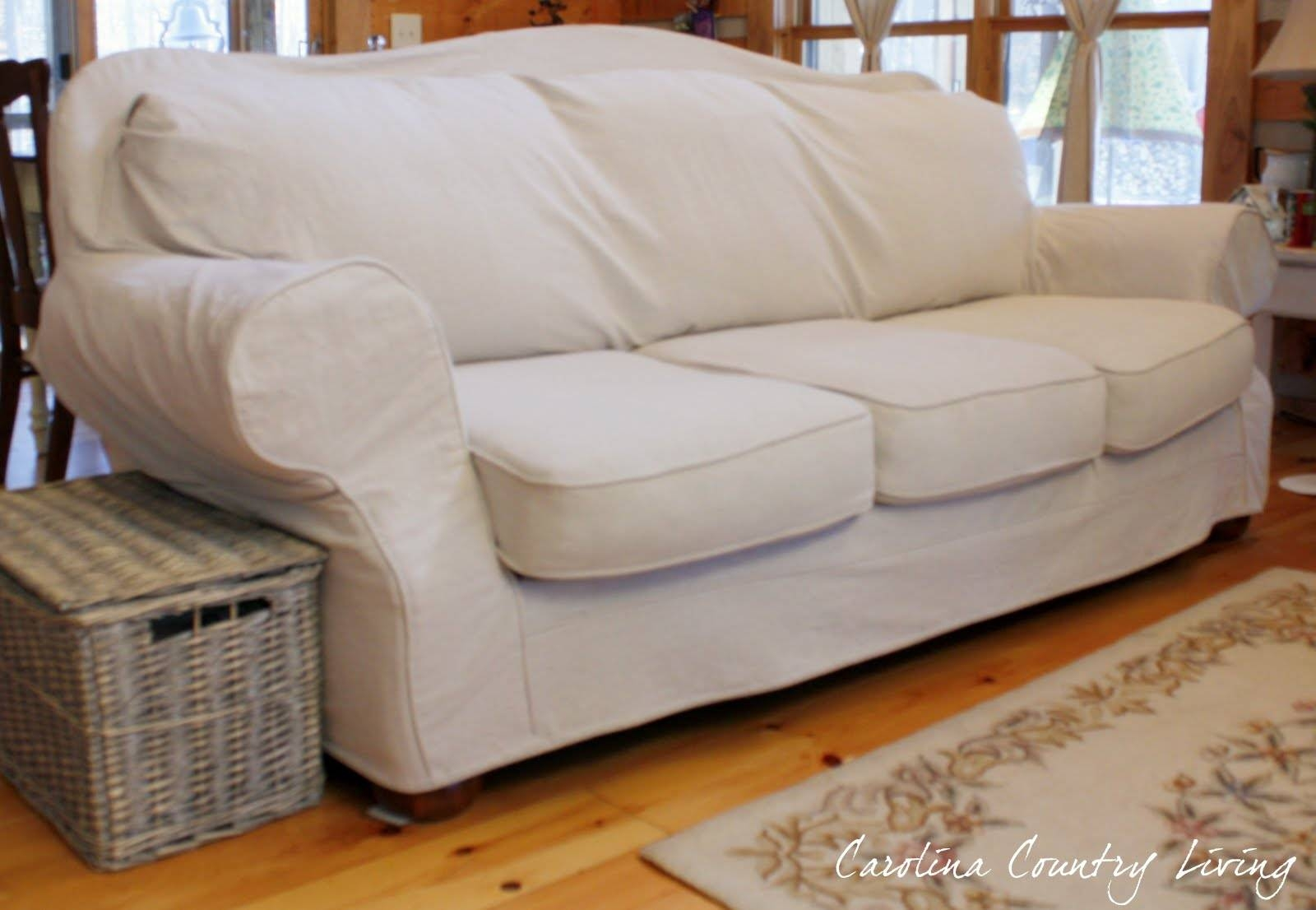 Carolina Country Living: Drop Cloth Sofa Slipcover for Camel Back Couch Slipcovers (Image 4 of 15)